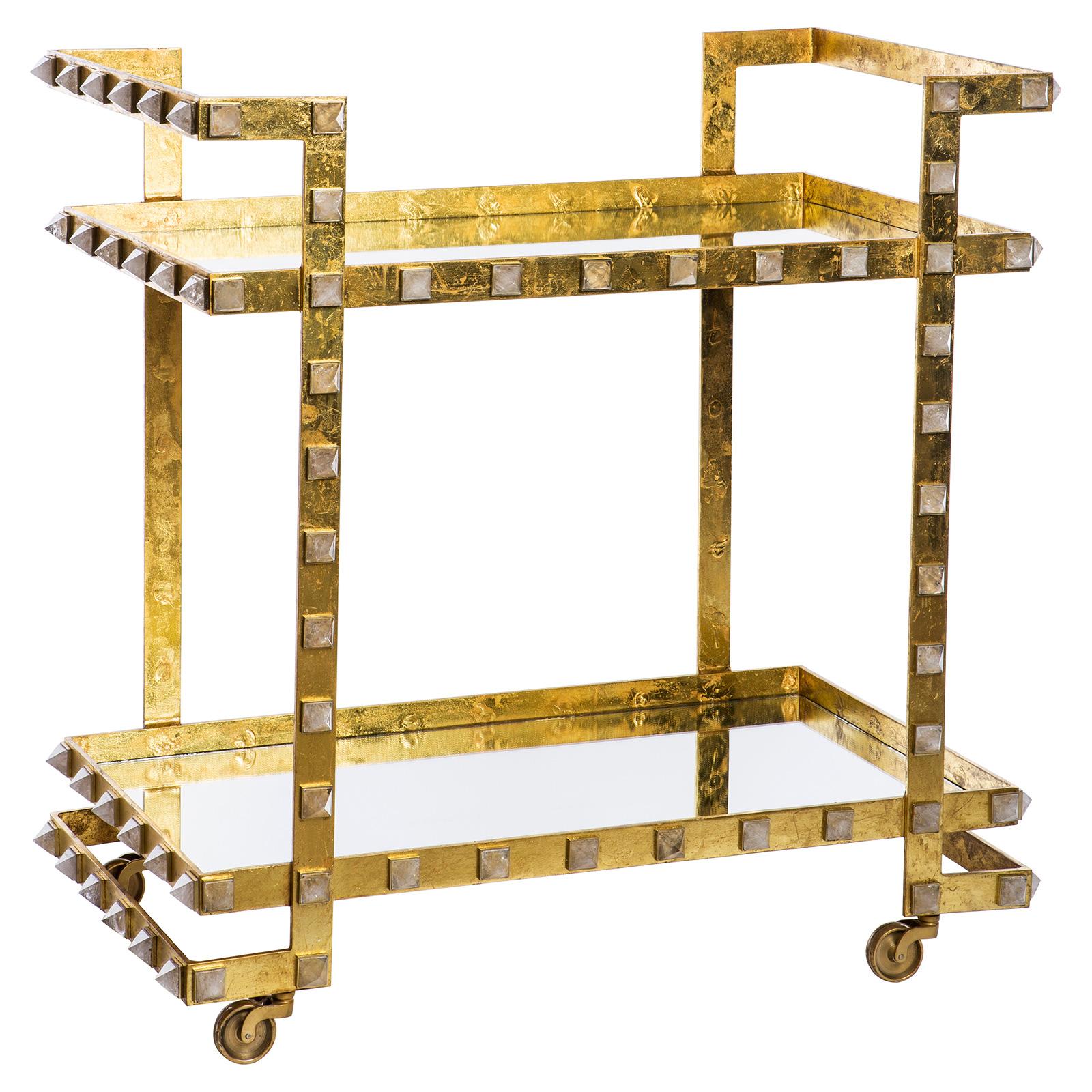 Fonda Hollywood Regency Gold Leaf Quartz Stud Wheeled Bar Cart
