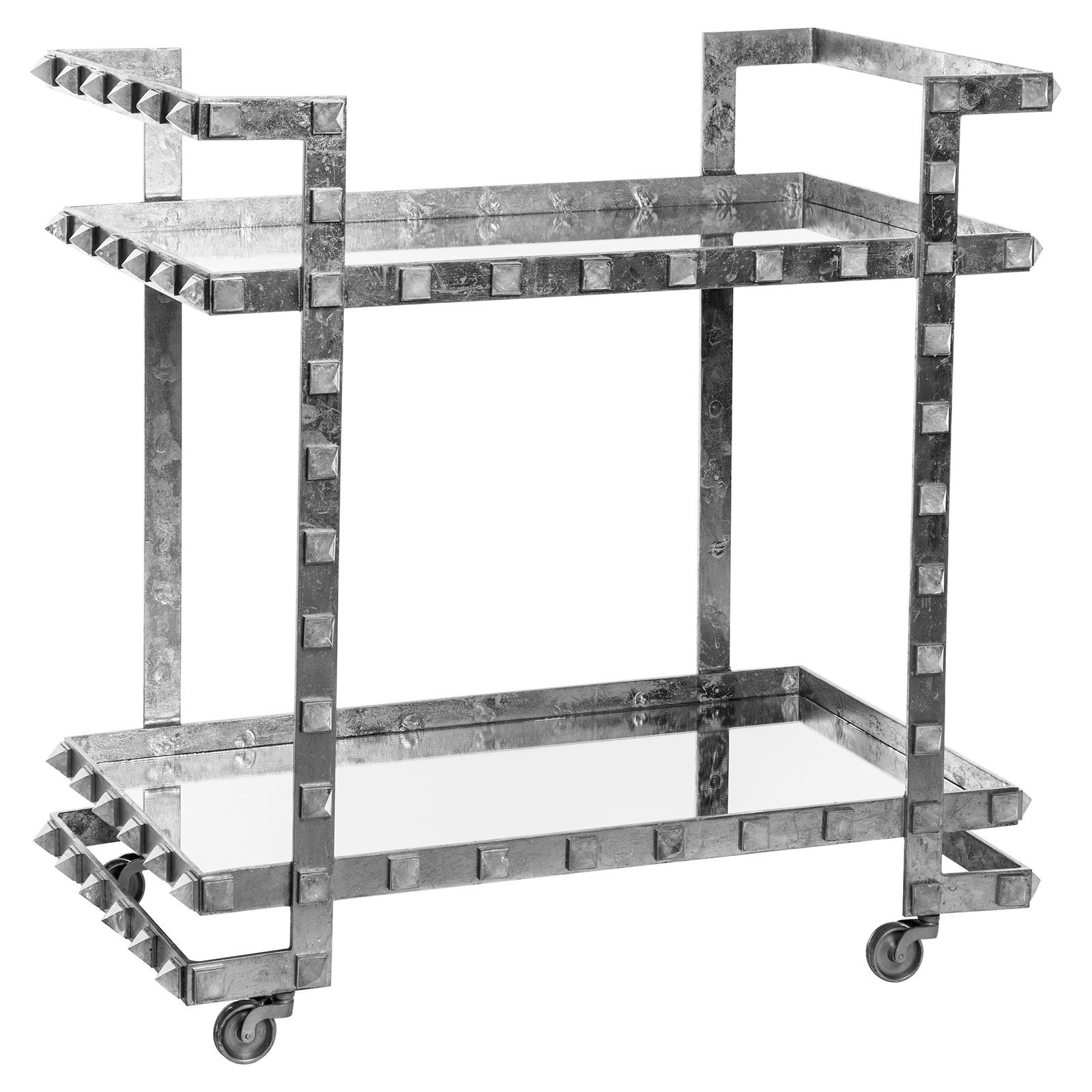 Fonda Hollywood Regency Silver Leaf Quartz Stud Wheeled Bar Cart