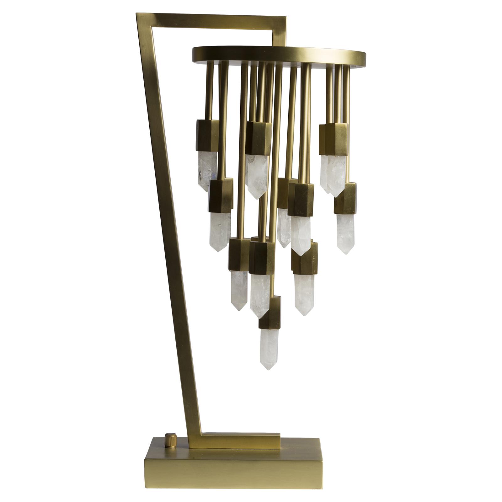 Della Modern Classic Satin Brass Quartz Pendant Table Lamp