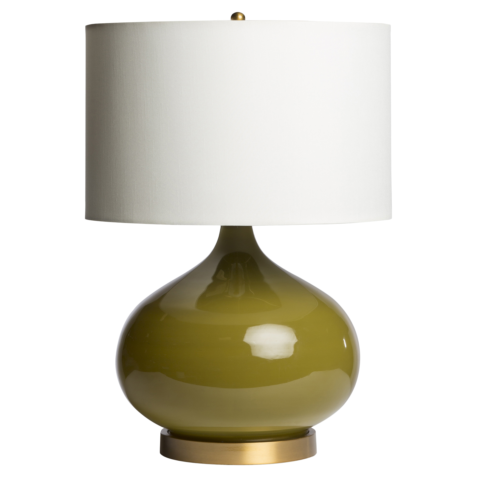 Cora Modern Classic Brass Olive Glass Table Lamp