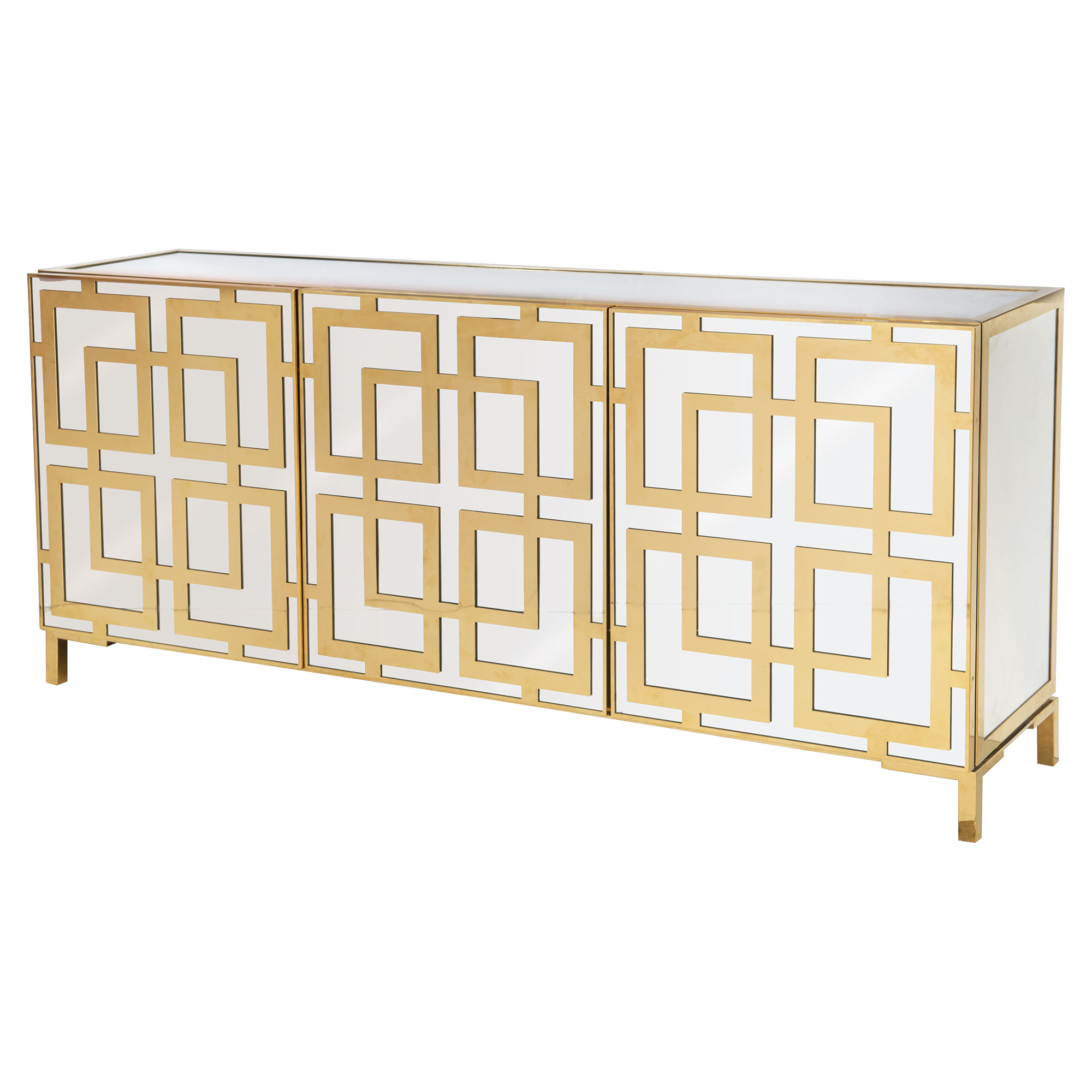 Mercer Modern Gold Regency Mirrored Brass Buffet