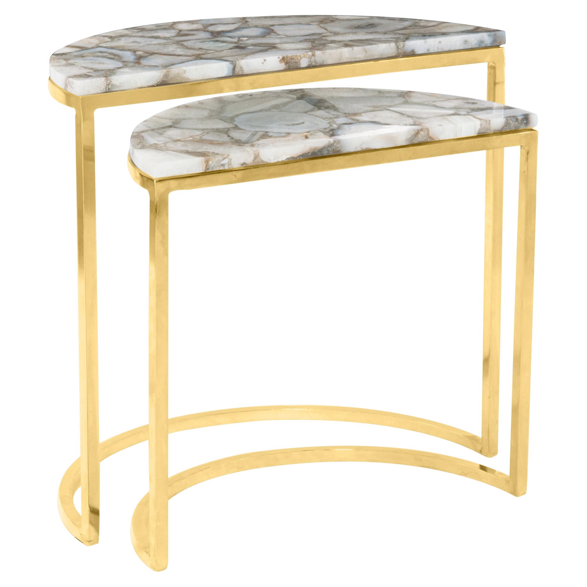 Vivia Modern Gold Steel Agate Demilune Tables - Pair