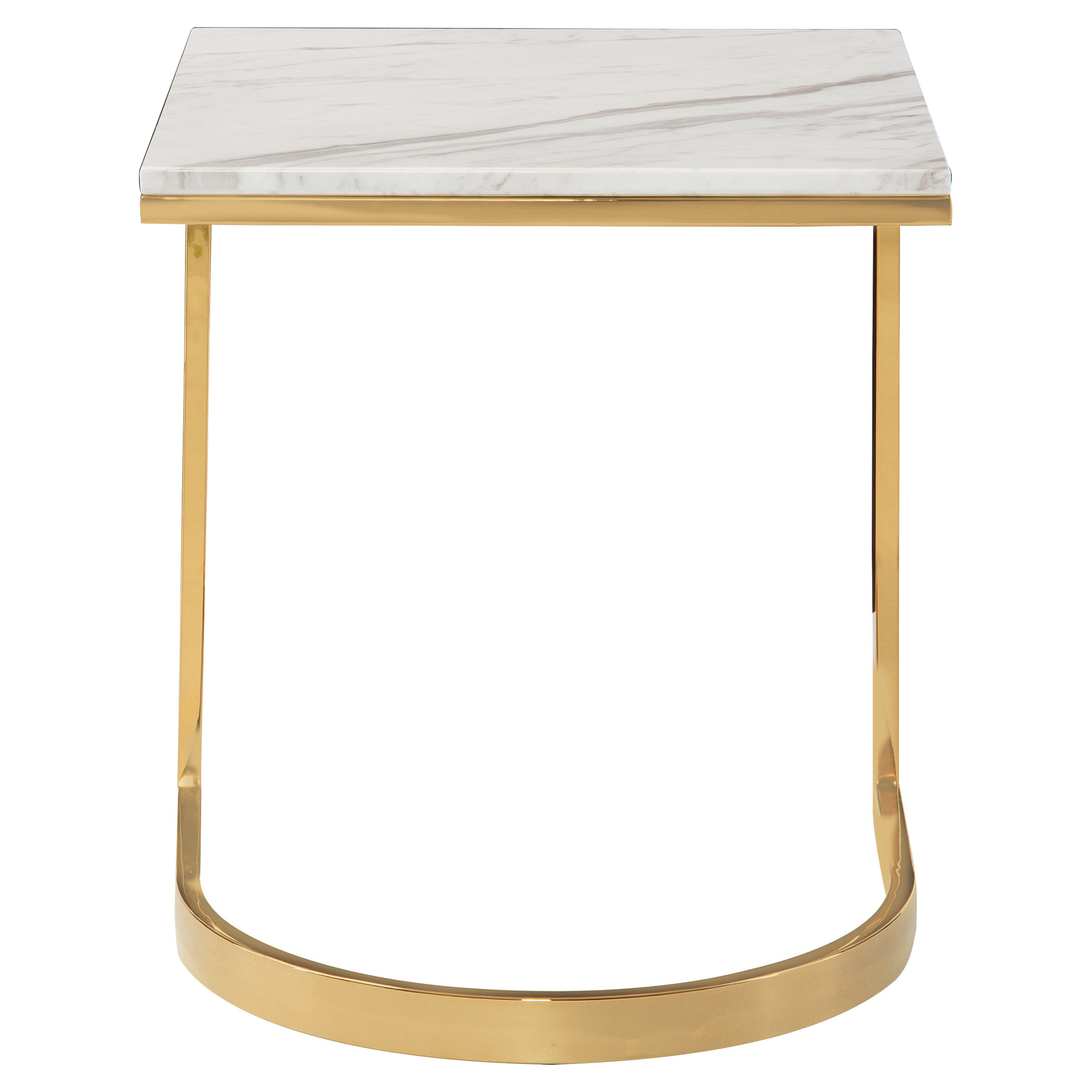 Nata Hollywood White Marble Brass Horse Shoe End Table