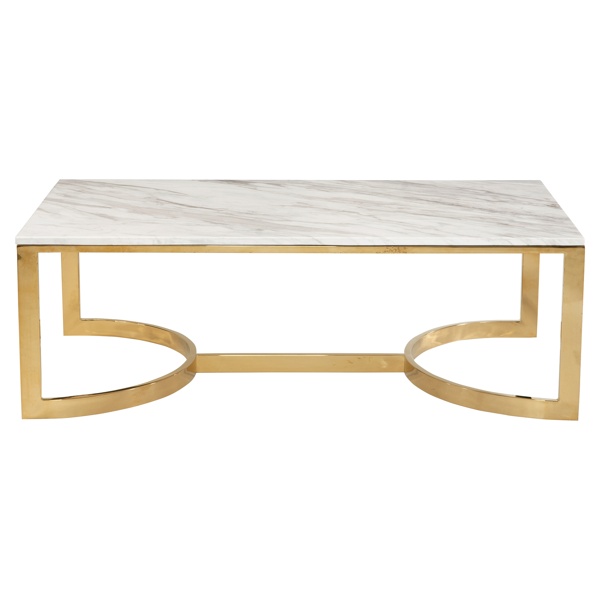 Nata Hollywood White Marble Brass Horse Shoe Coffee Table