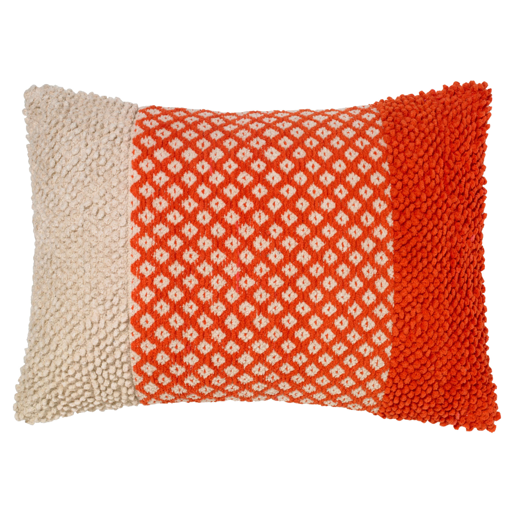 Frida Bazaar Red Textured Beige Pillow - 15.75x23.5