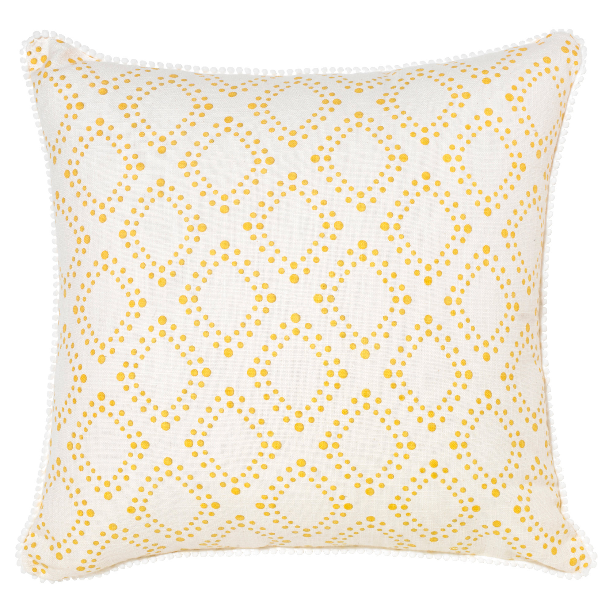 Spiva Modern Classic Dotted Yellow Ivory Pillow - 18x18