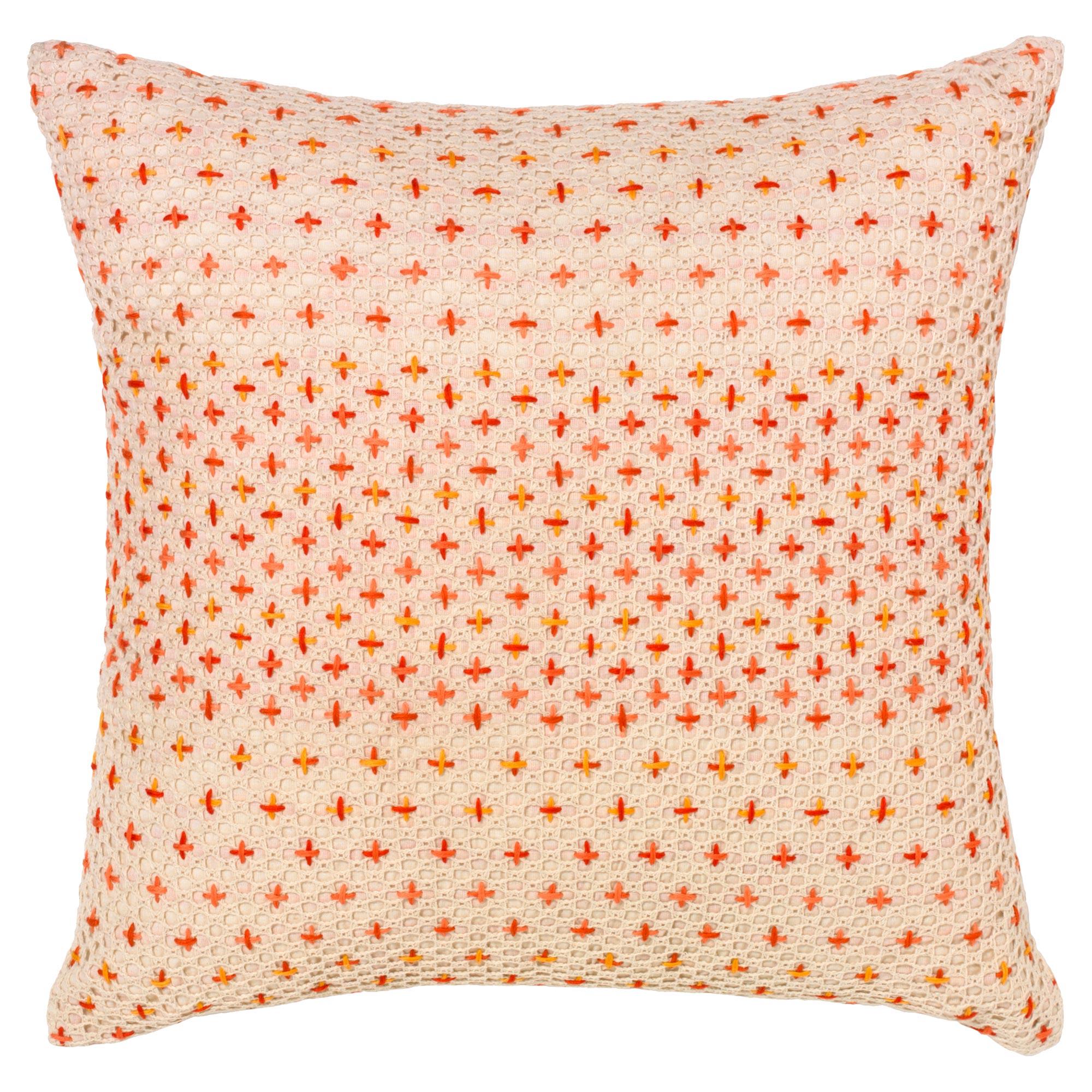 Felipa Modern Coral Cross Stitch Pillow - 18x18