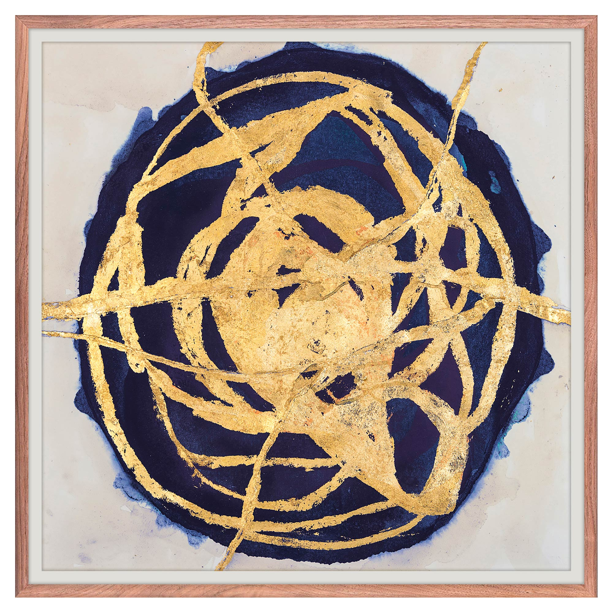 Circular Indigo Water Color Rust Gold Painting - Walnut Frame