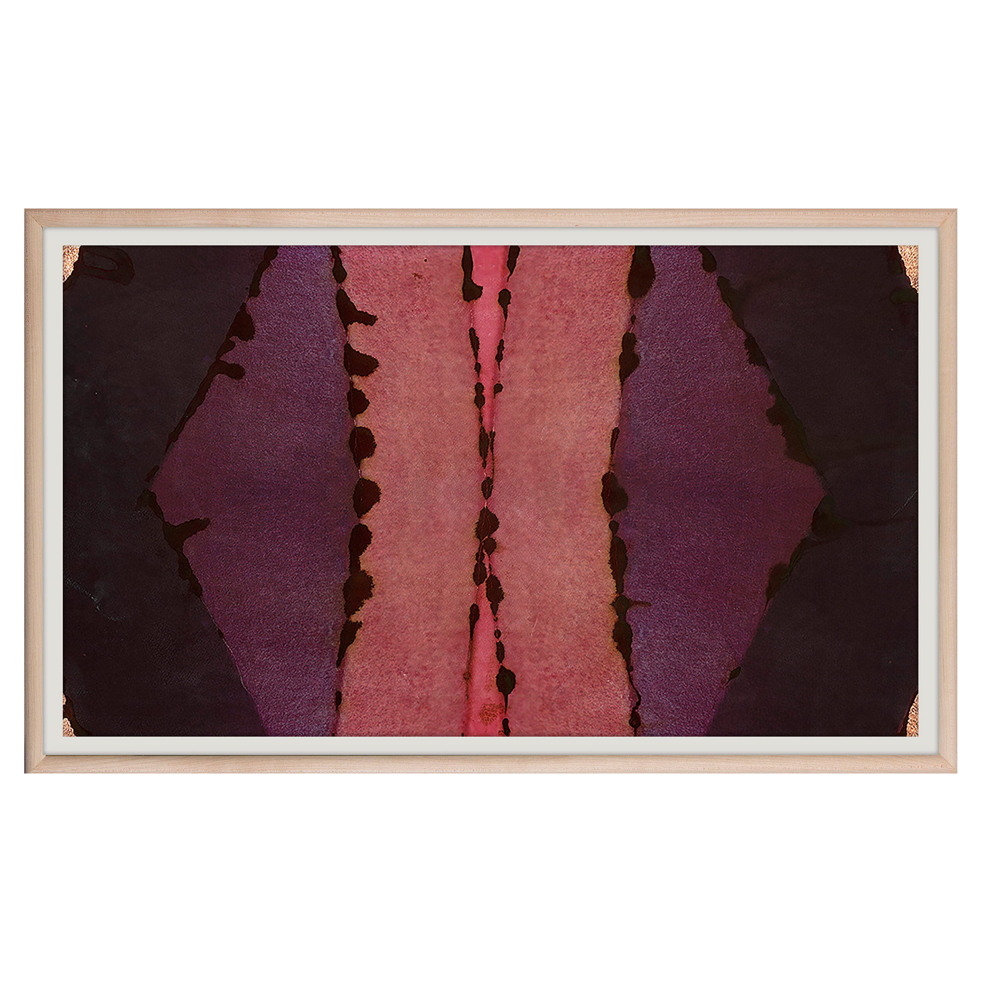 Sunset Pink Purple Inkblot Gold Painting - Maple Frame