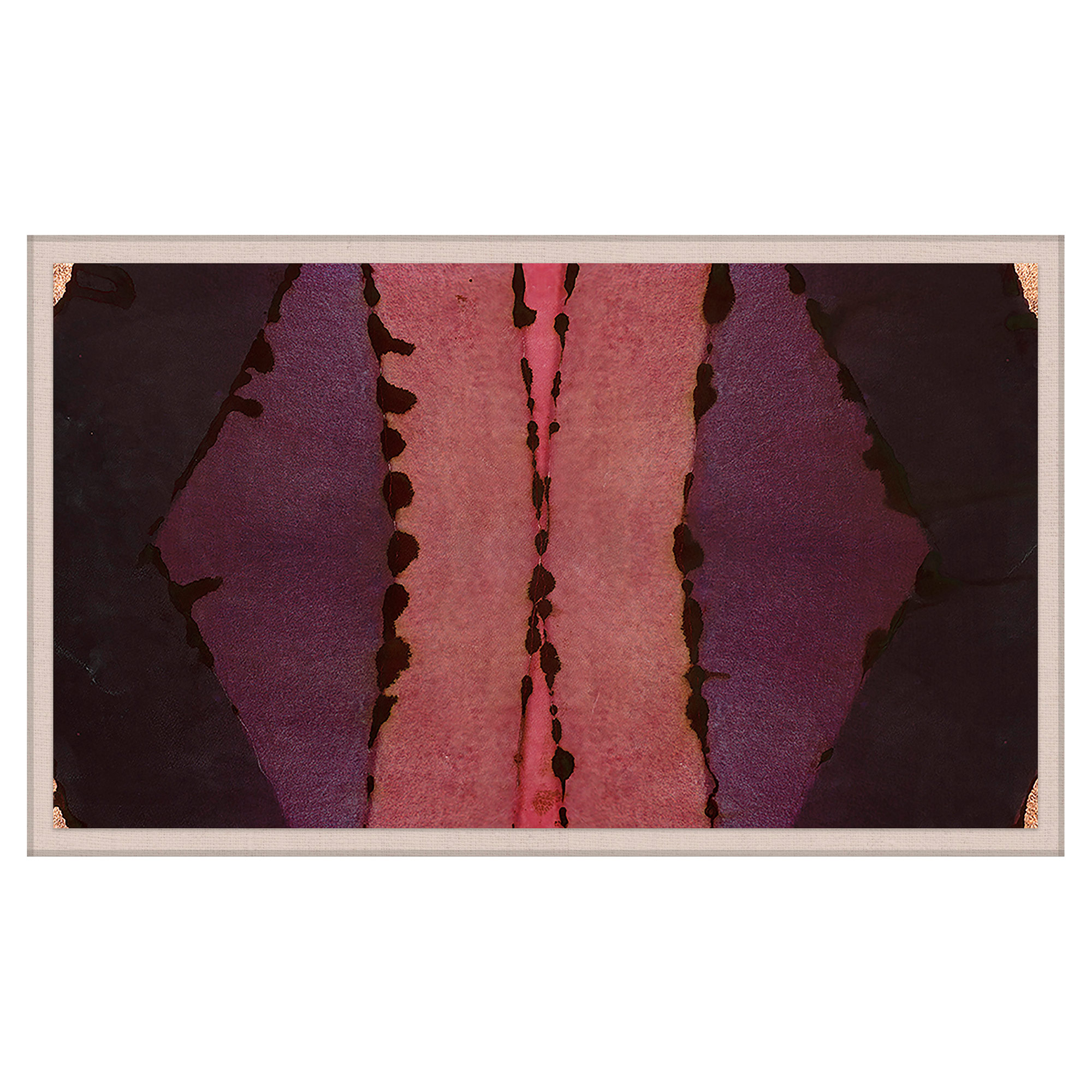 Sunset Pink Purple Inkblot Gold Painting - Acrylic Box Frame