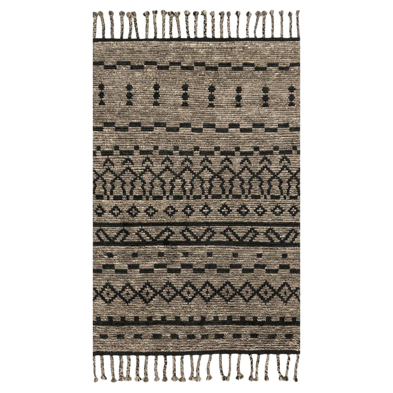 Viento Global Natural Wool Black Rug - 4x6