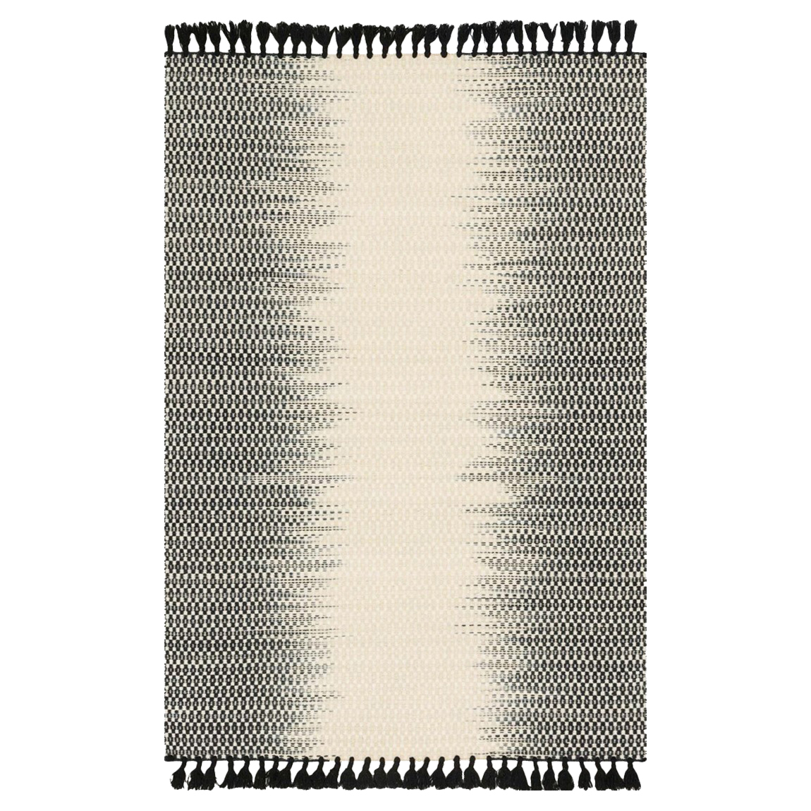 Tilly Global Black Ombre Woven Wool Rug - 5x7'6