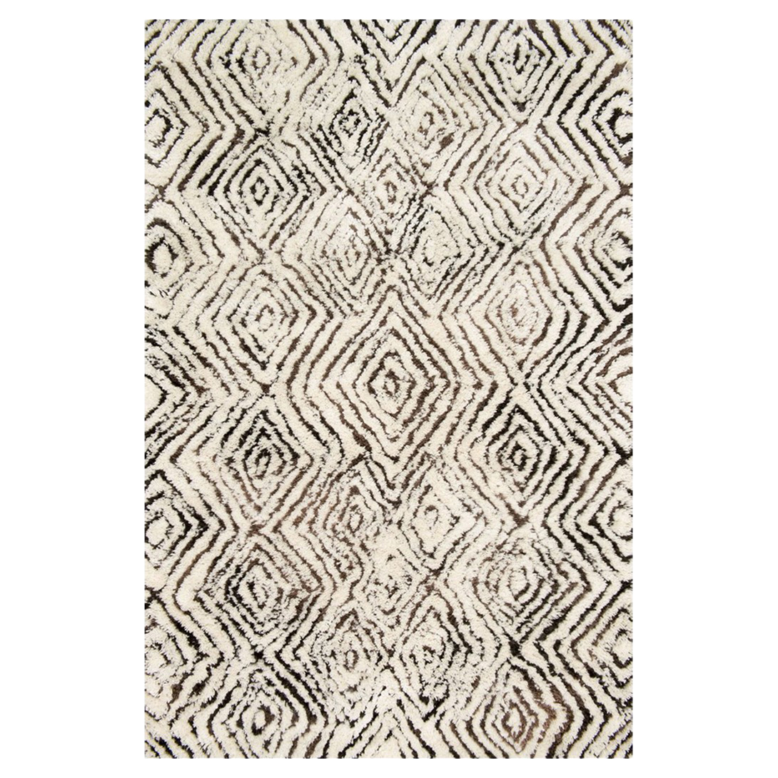 Cella Bohemian Tufted Brown Diamond Ivory Rug - 5x7'6