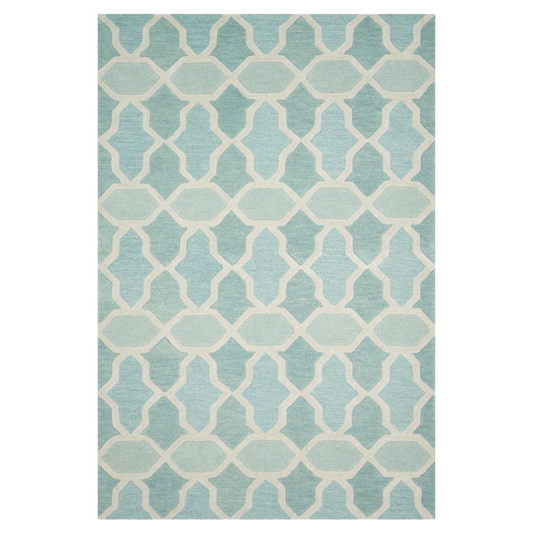 Miri Classic Ivory Trellis Aqua Wool Rug - 3'6x5'6