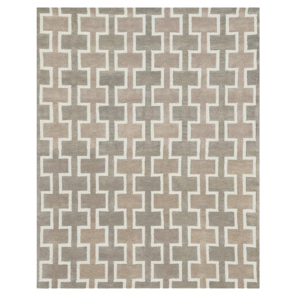 Rod Modern Beige Grey Trellis Wool Rug - 7'9x9'9