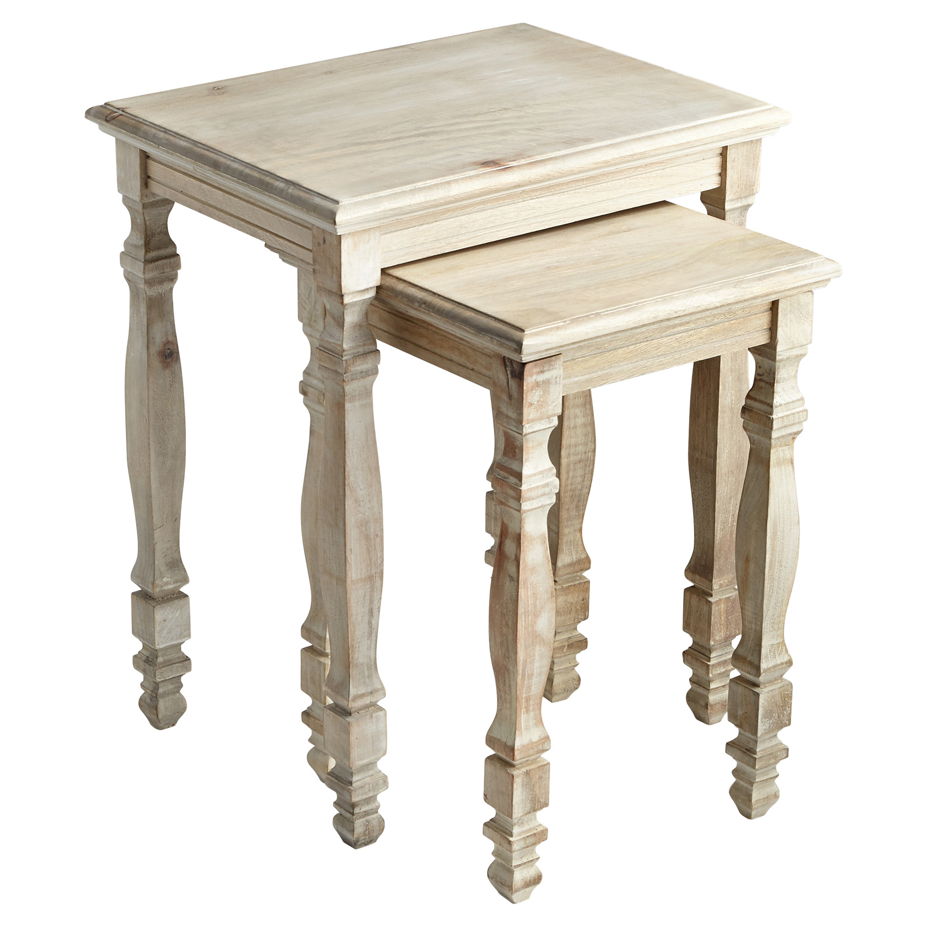 Maman French Carved Wood Nesting Tables - Pair