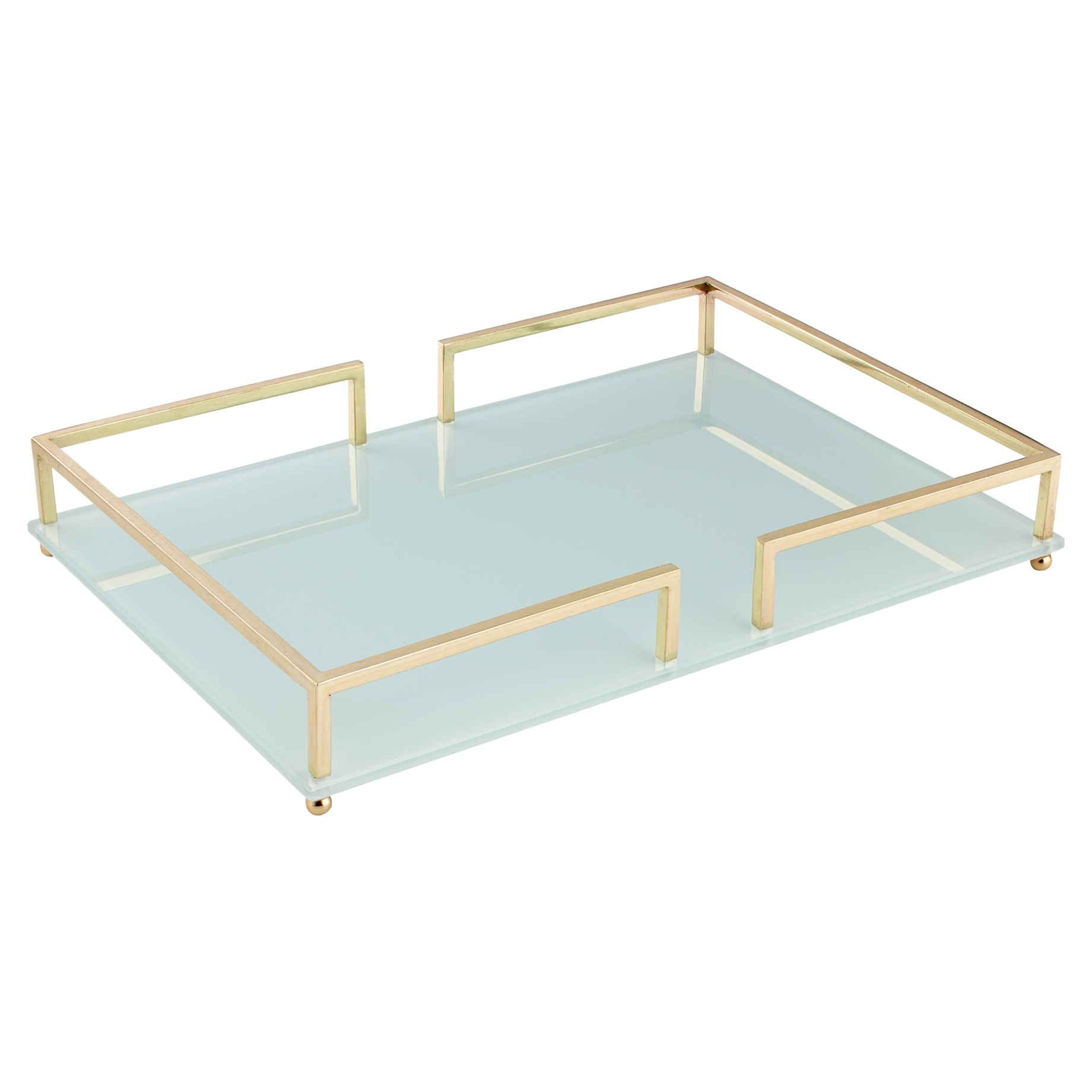 Tima Modern Classic Ice Blue Gold Trim Tray - L