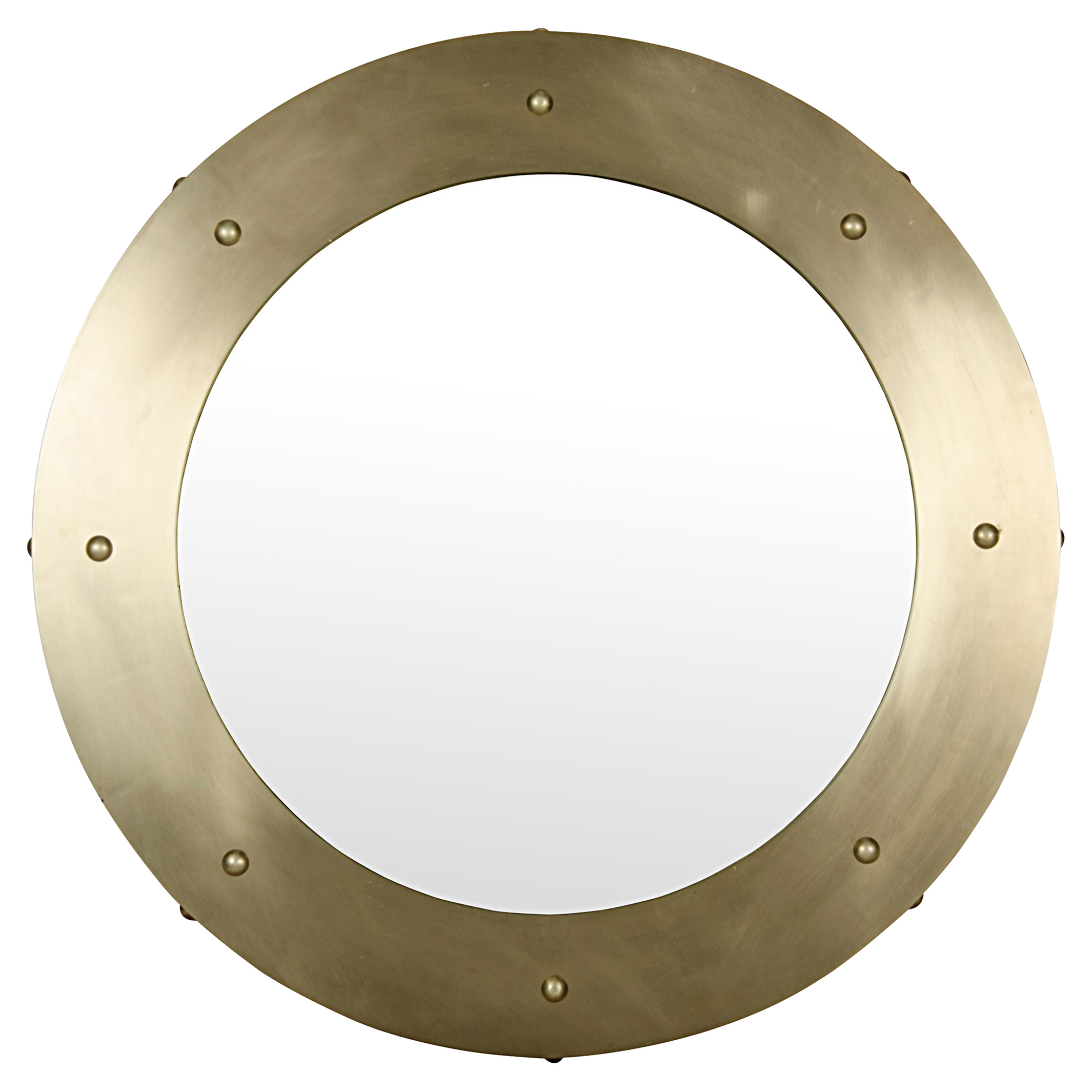 Xavier Modern Antique Bras Round Metal Mirror - 36D
