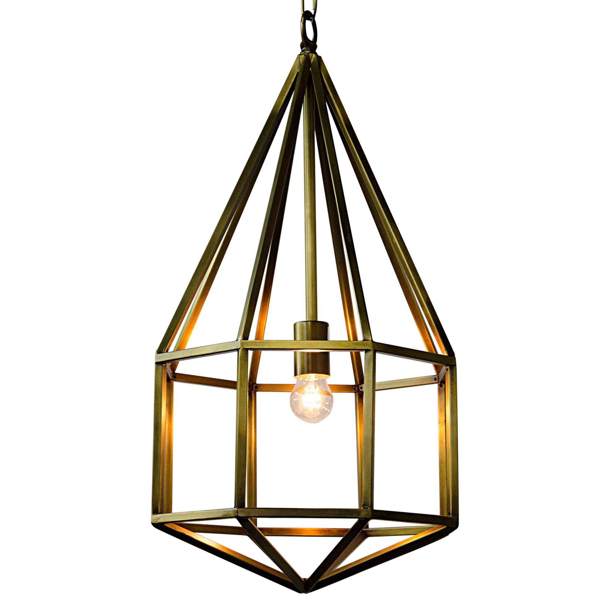 Alessia Modern Classic Antique Brass Diamond Pendant - 25.5H
