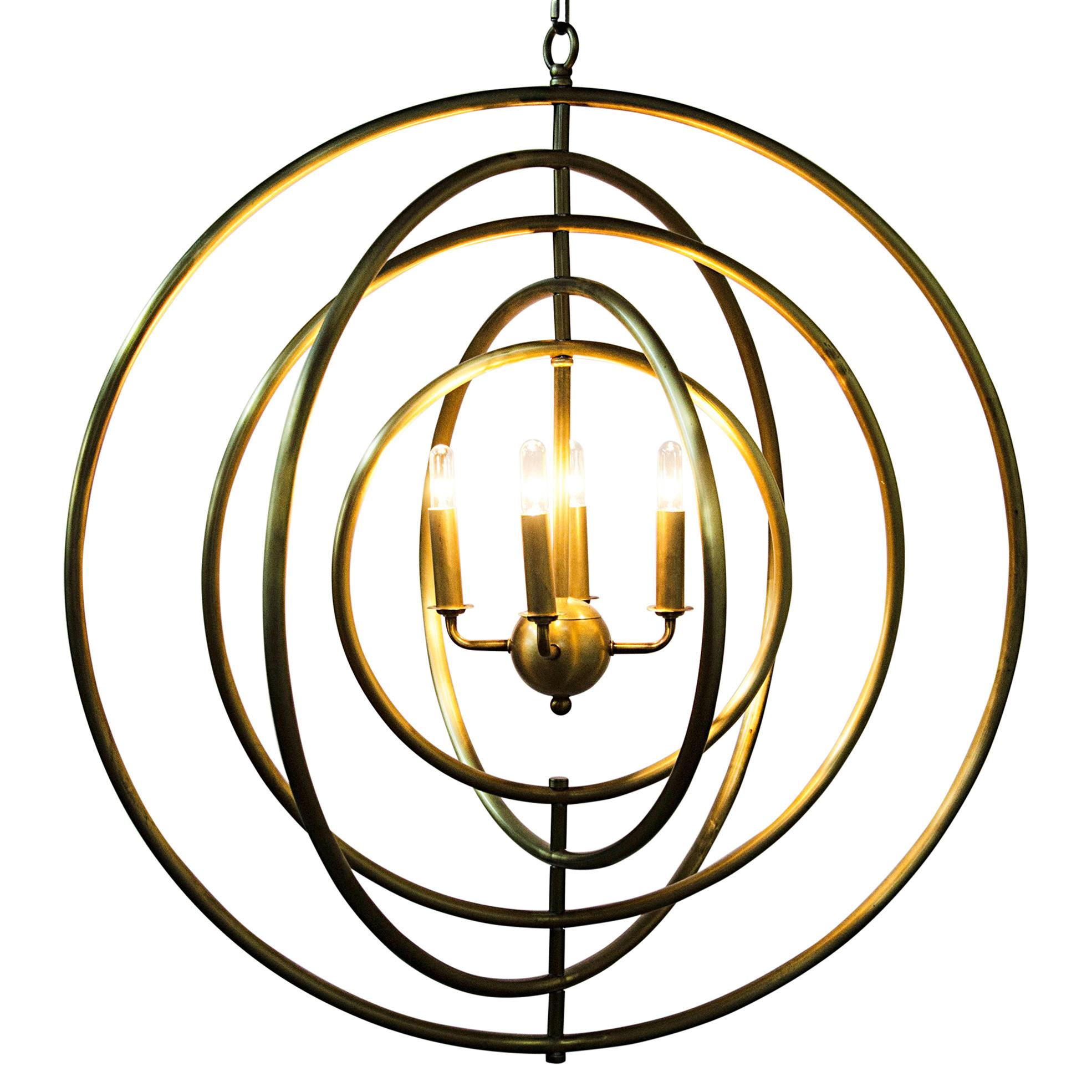 Keplar Modern Classic Antique Brass Metal Revolving Rings Pendant