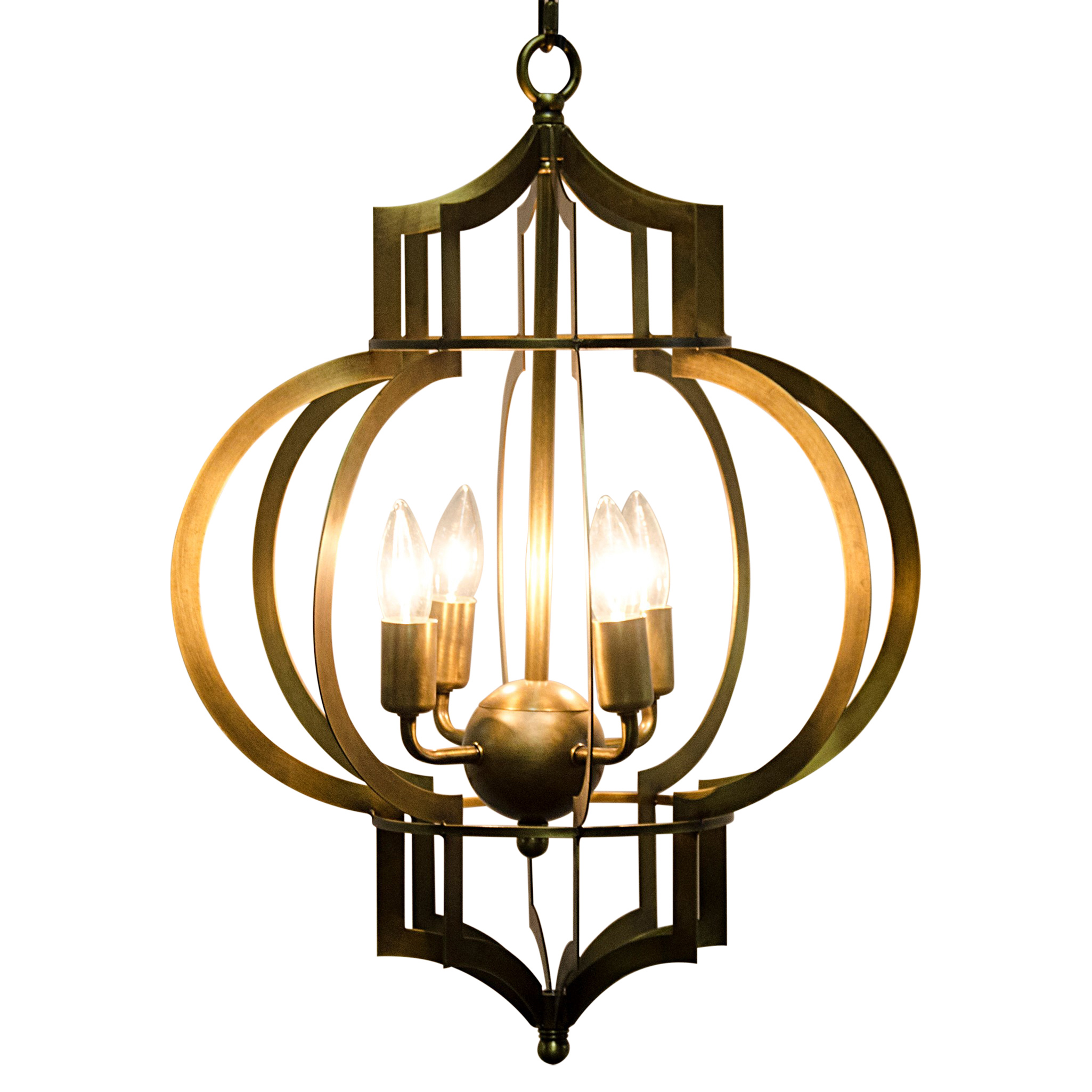 Sri Modern Classic Antique Brass Metal Arabesque Lantern Pendant
