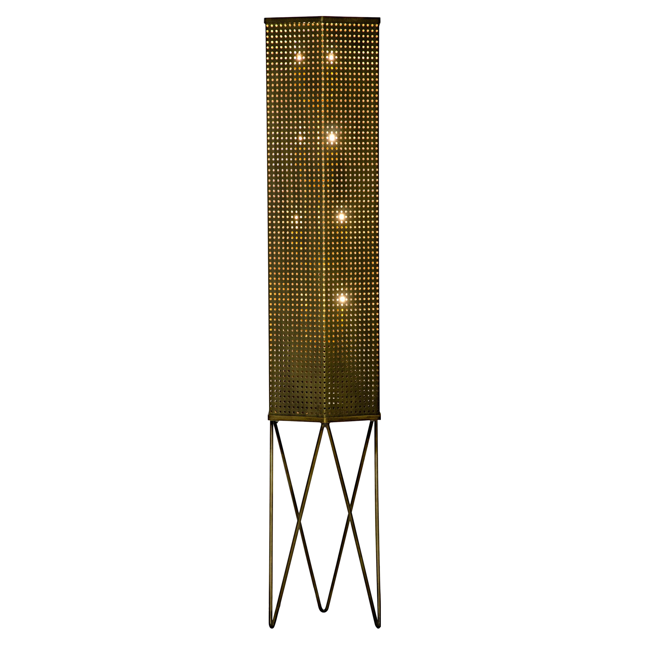 Ansell Industrial Antique Brass Rectangular Mesh Drum Floor Lamp