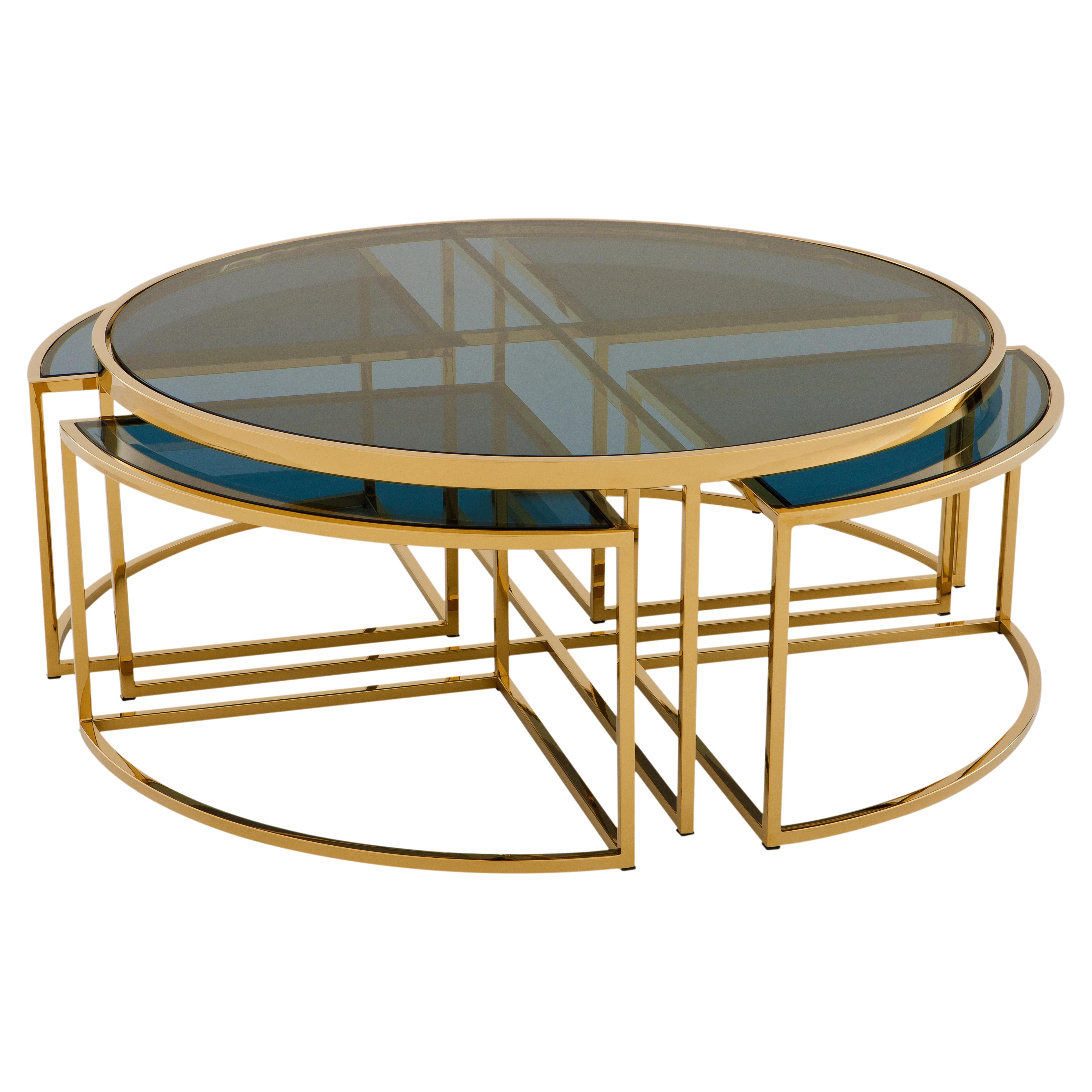 Bergen Hollywood Gold Blue Glass Nesting Round Coffee Table