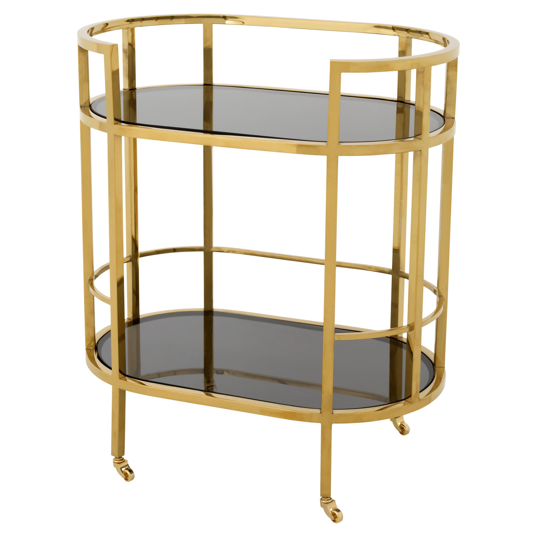 Carr Hollywood Regency Gold Frame 2-Tier Black Glass Bar Cart