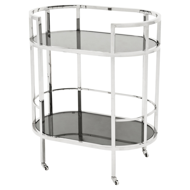 Carr Hollywood Regency Silver Frame 2-Tier Black Glass Bar Cart