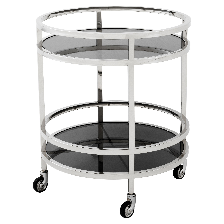Coop Hollywood Silver Frame 2-Tier Black Glass Circular Bar Cart