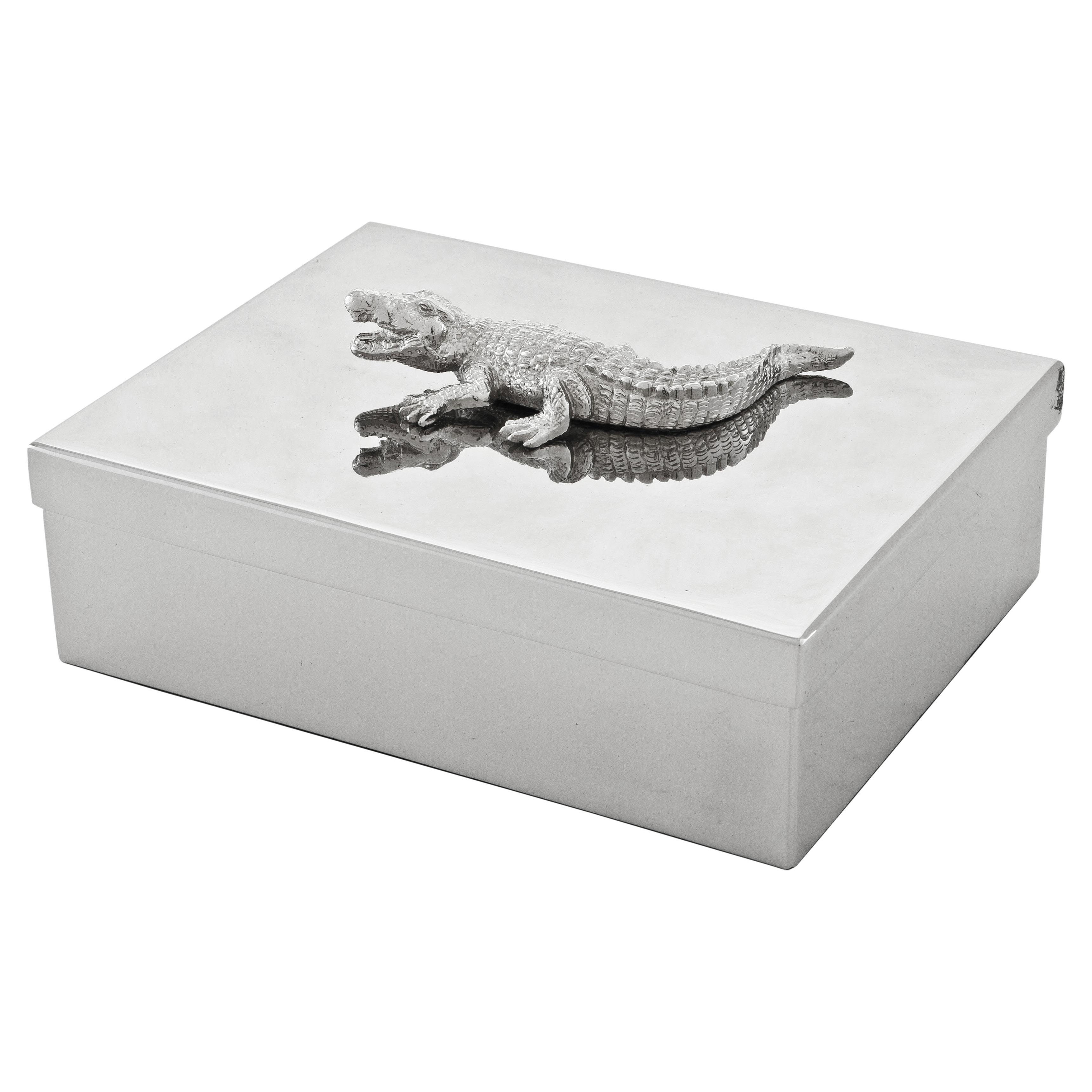 Modern Classic Silver Alligator Jewelry Decorative Box