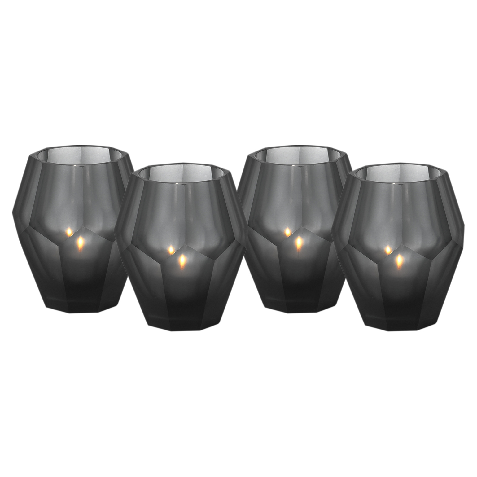 Modern Classic Grey Black Faceted Glass Candleholder - Set of 4