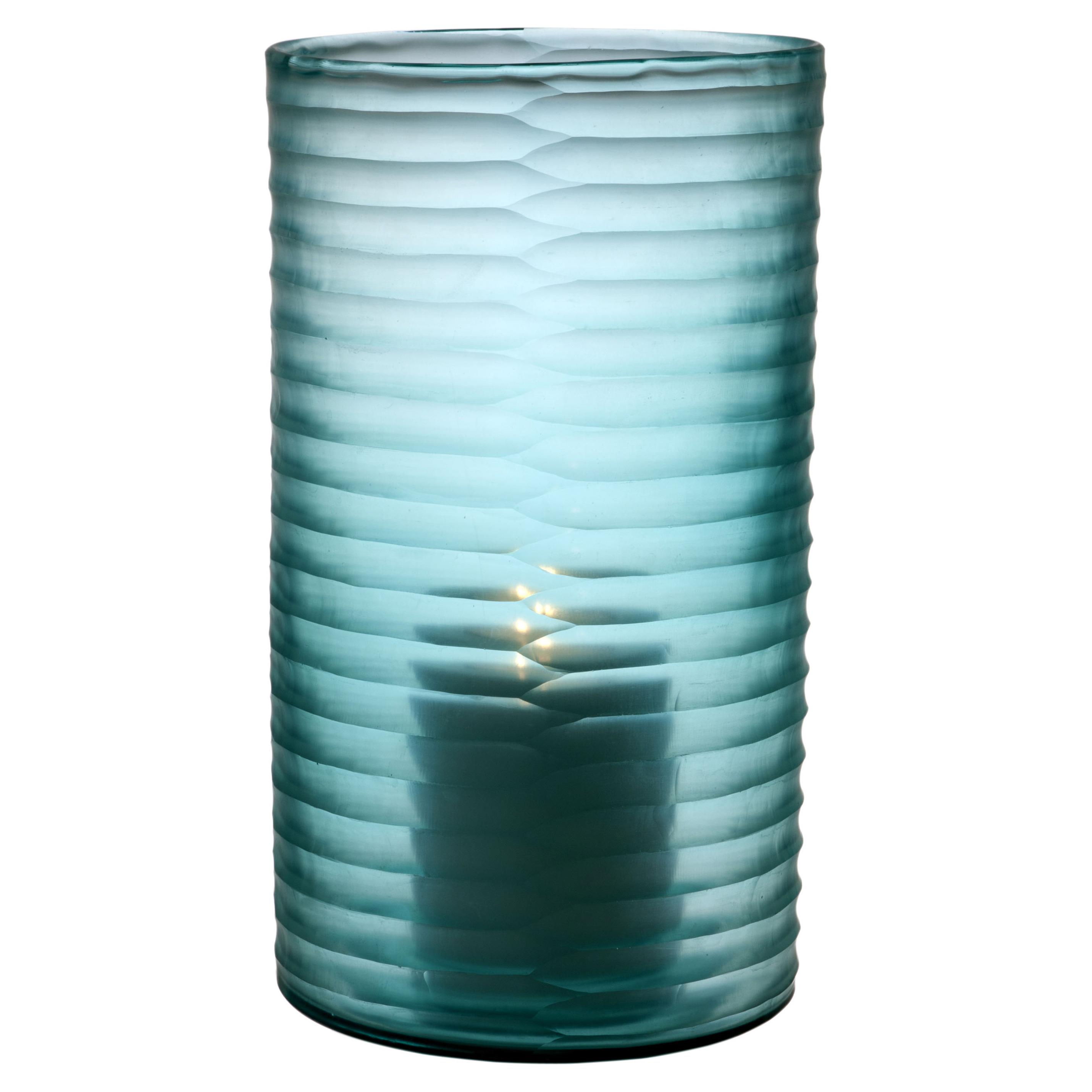 Karl Coastal Beach Light Blue Hurricane Candleholder - 14H
