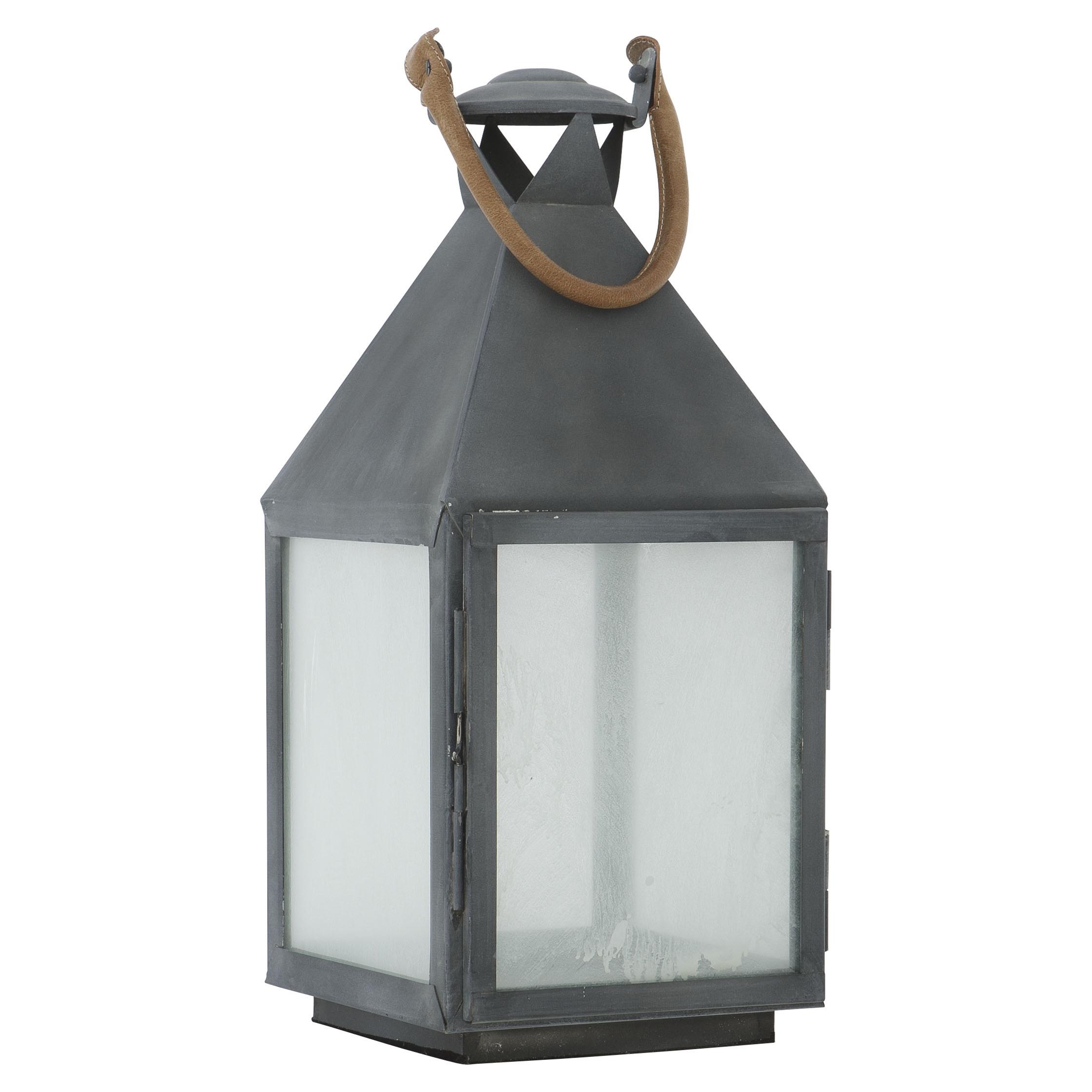 Lauren Rustic Lodge Dark Grey Metal Candle Lantern - 26H