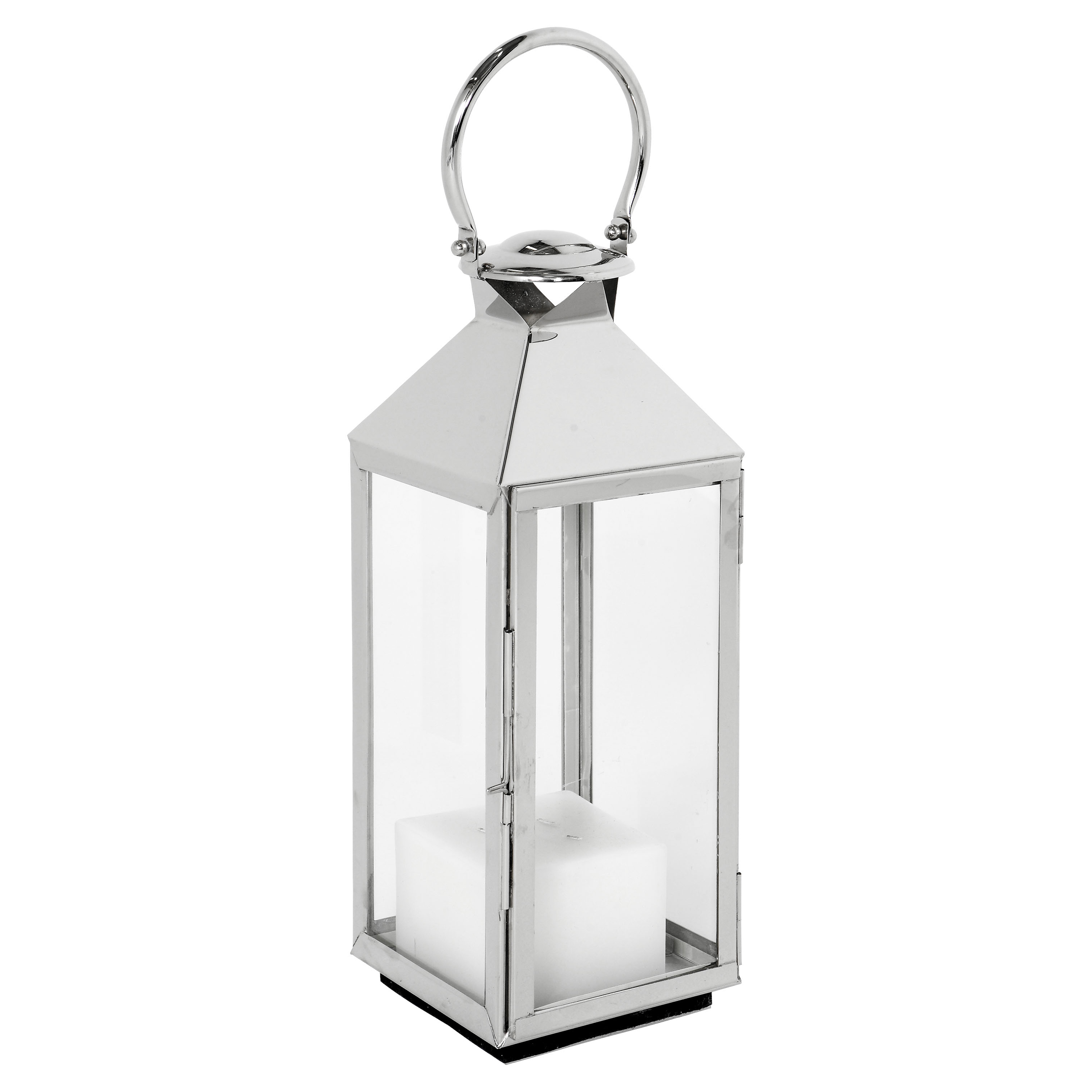 Alison Modern Classic Polished Silver Metal Candle Lantern - 21H