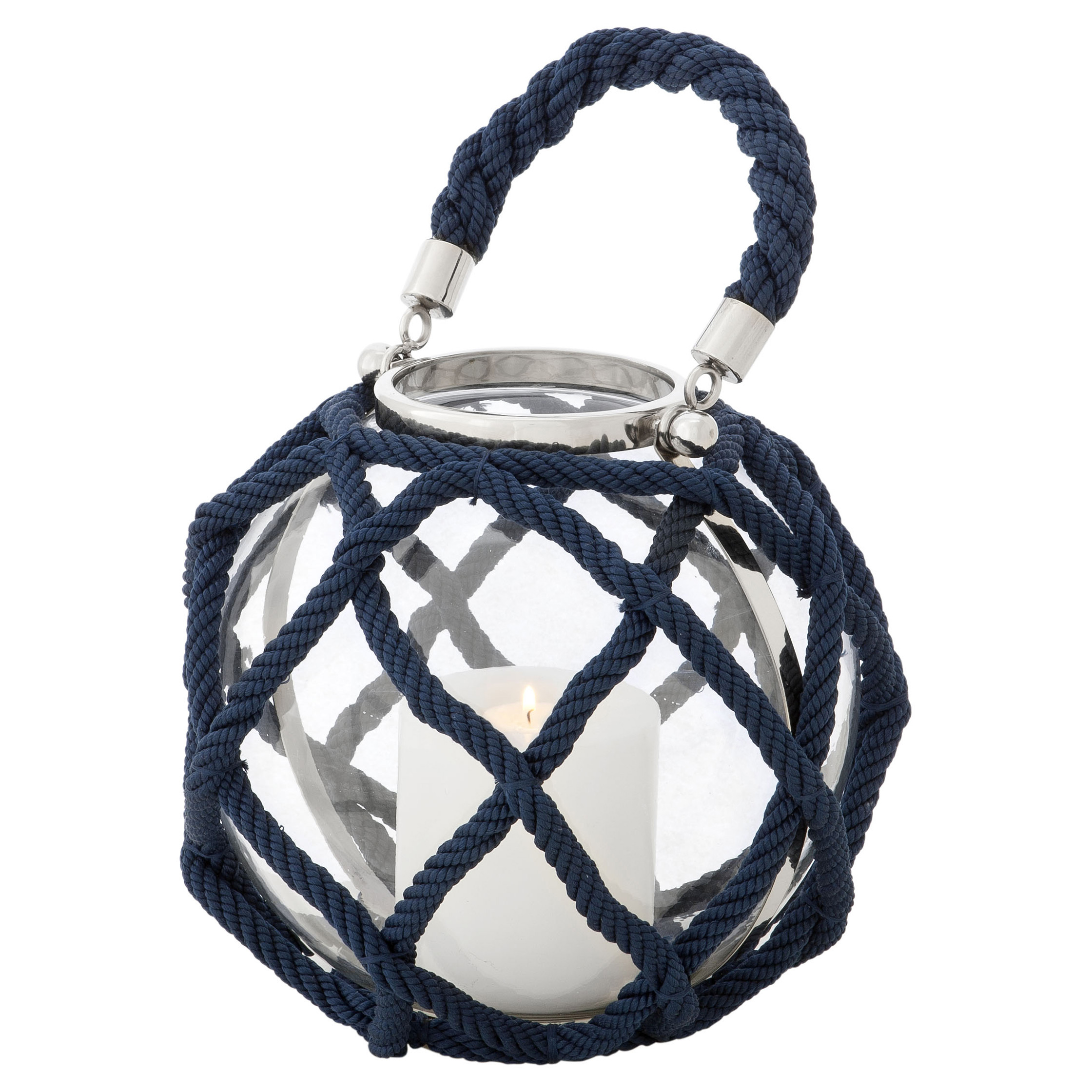 Levi Coastal Beach Navy Blue Nautical Rope Round Lantern - 16H