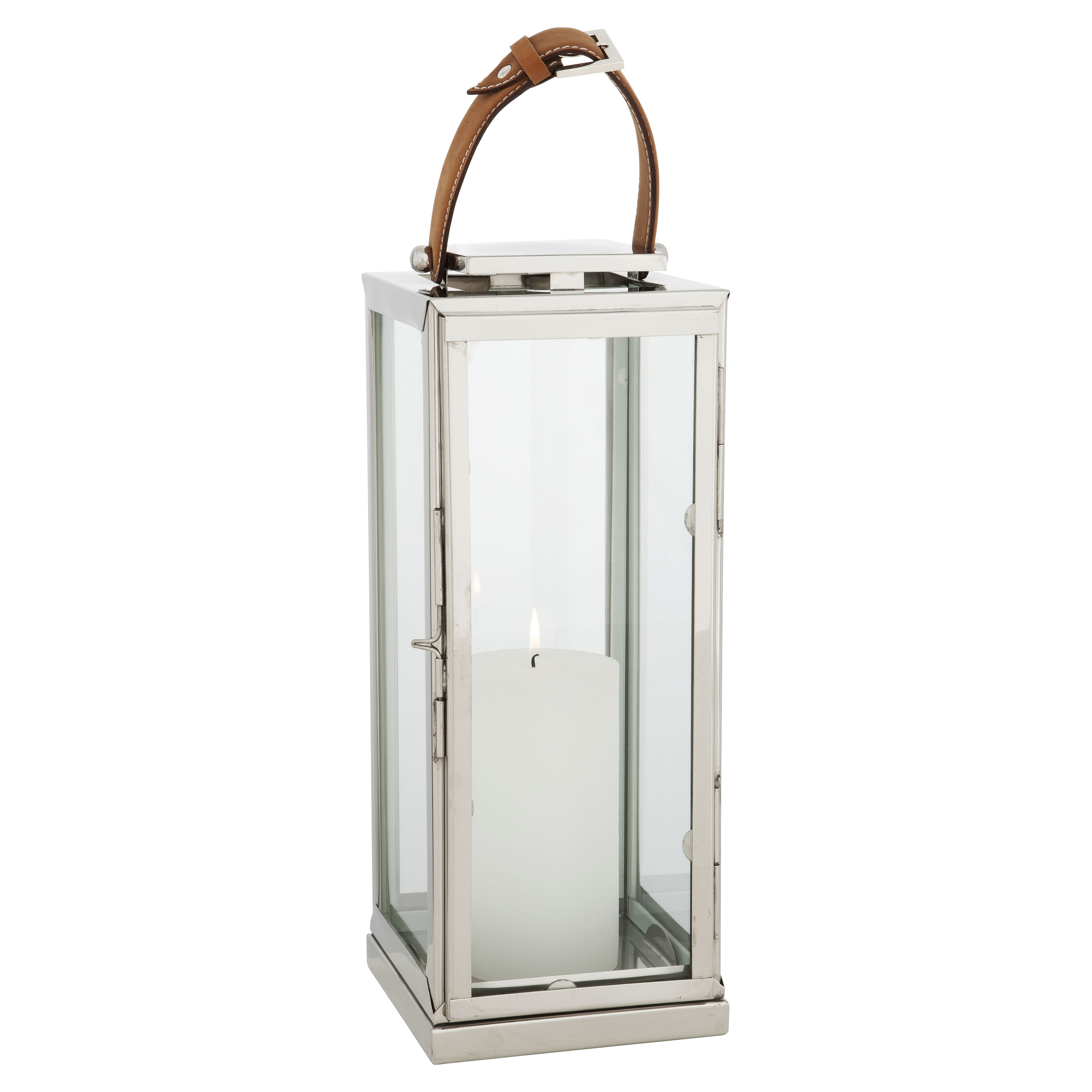 Lois Modern Classic Silver Leather Candle Lantern - 16H