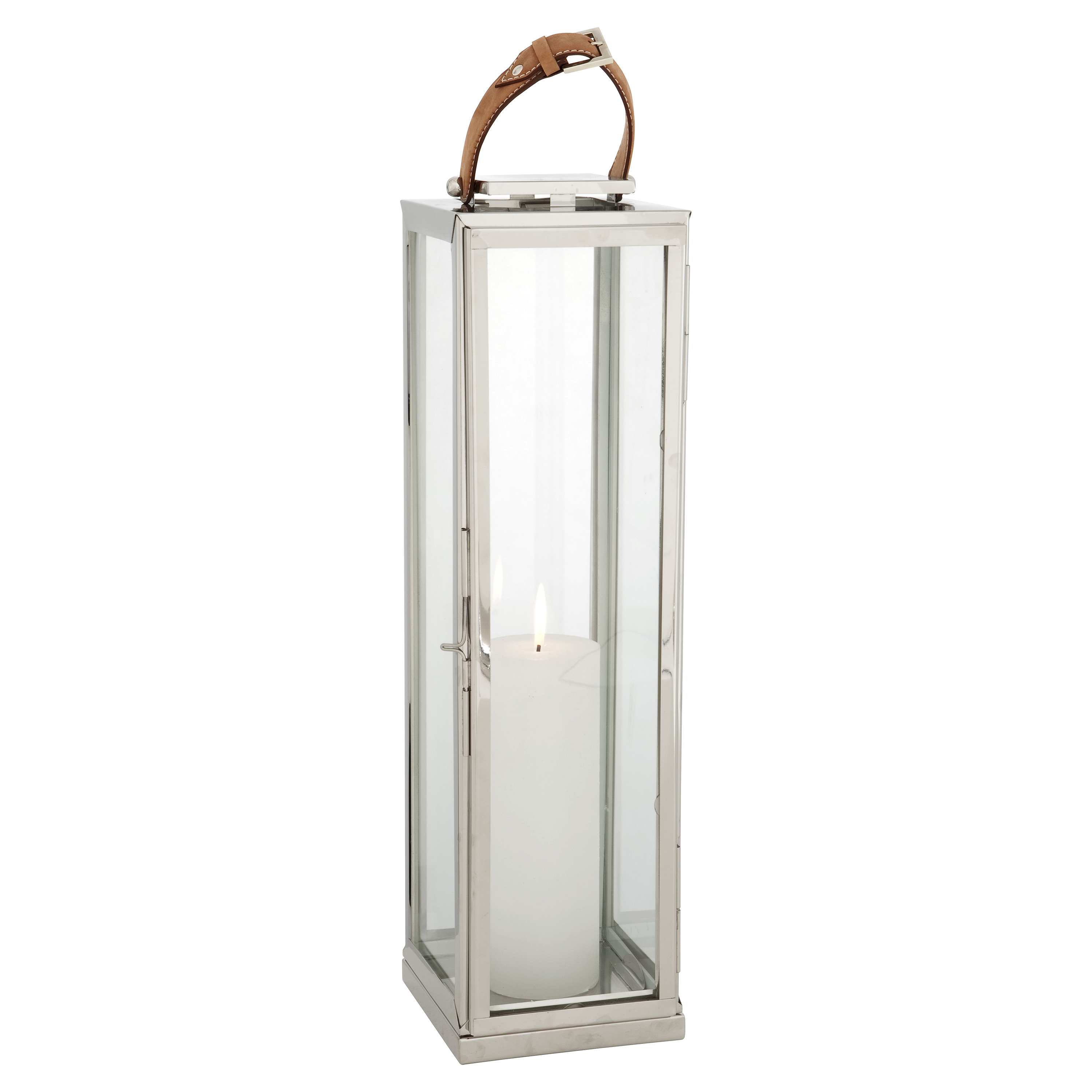 Lois Modern Classic Silver Leather Candle Lantern - 27H