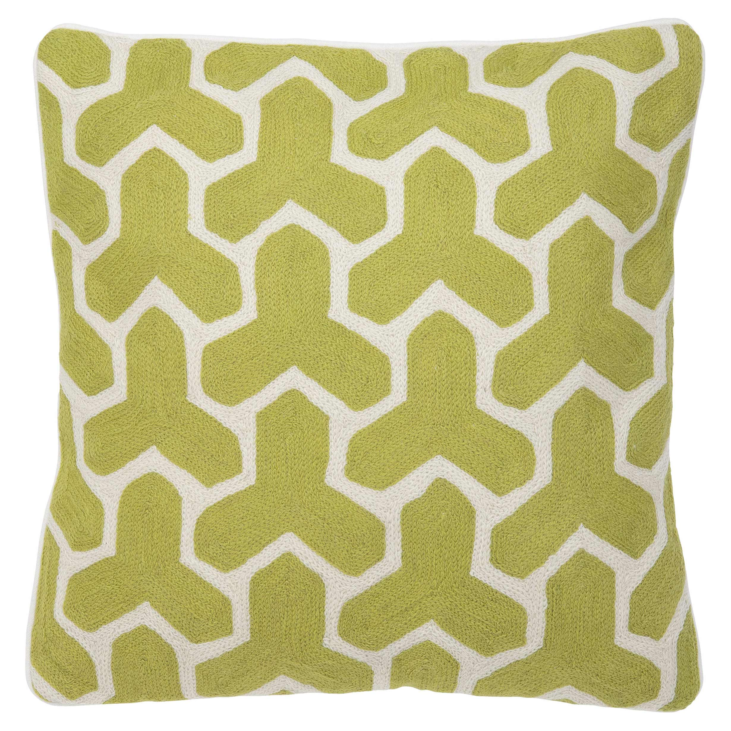 Modern Classic Lime Cream Tile Decorative Pillow - 20x20