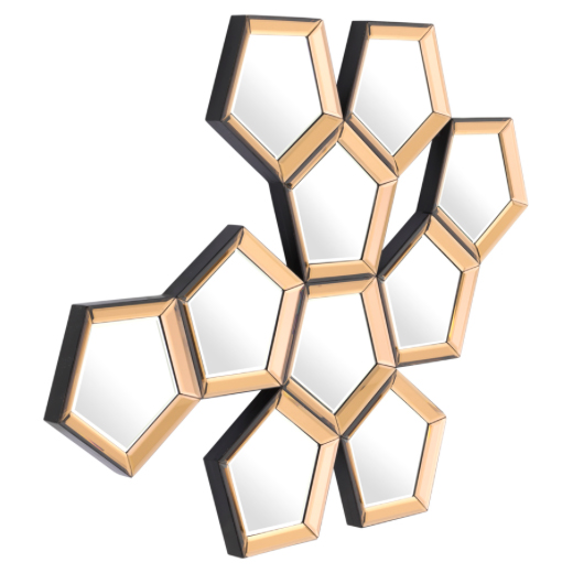 Modern Classic Gold Beveled Honeycomb Wall Mounted Mirror Set