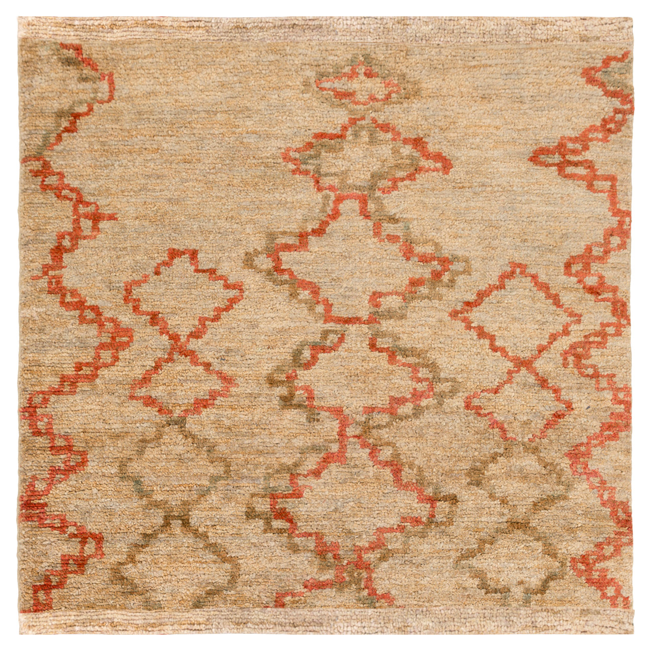 Nalia Bazaar Burnt Orange Beige Jute Rug - Sample