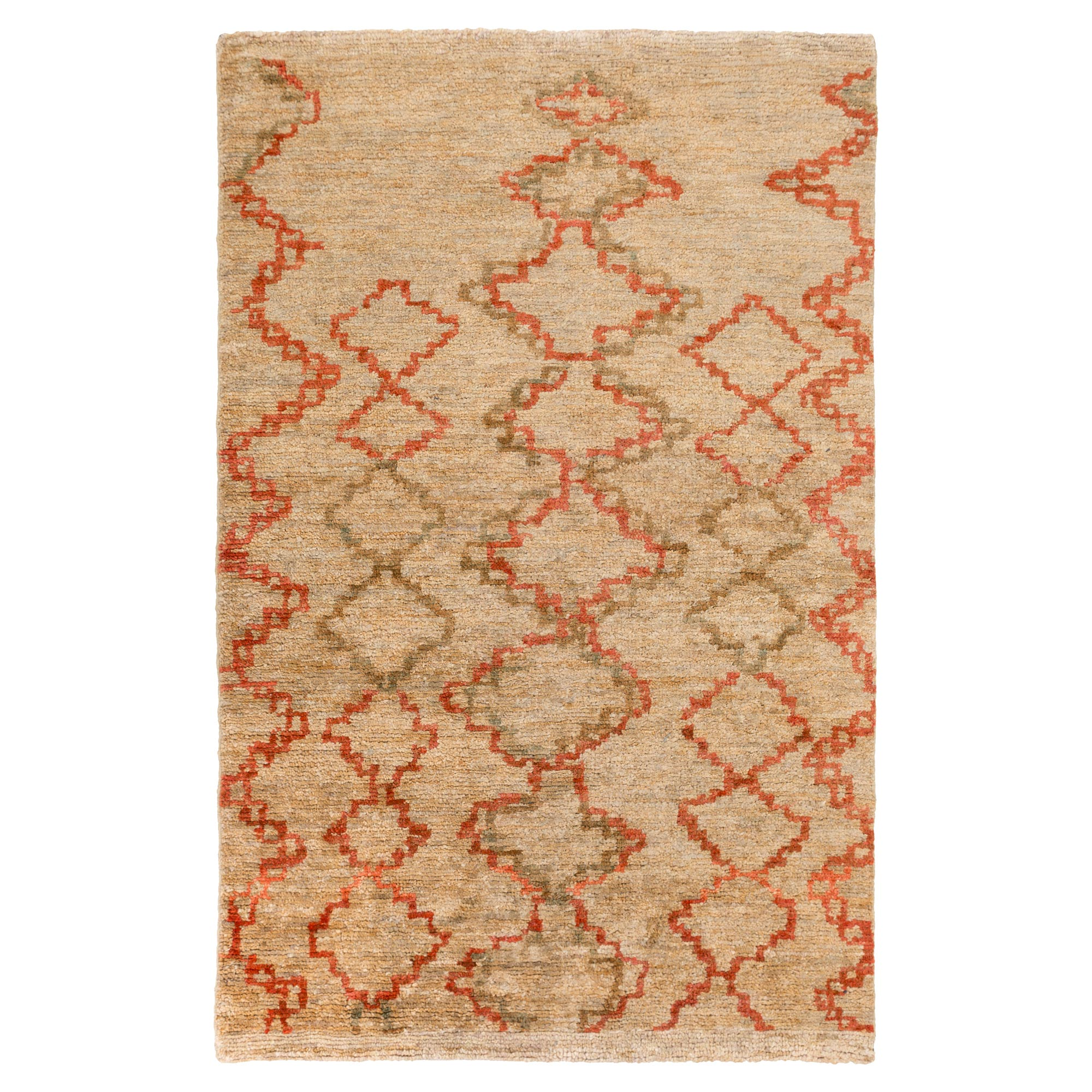 Nalia Bazaar Burnt Orange Beige Jute Rug - 2x3