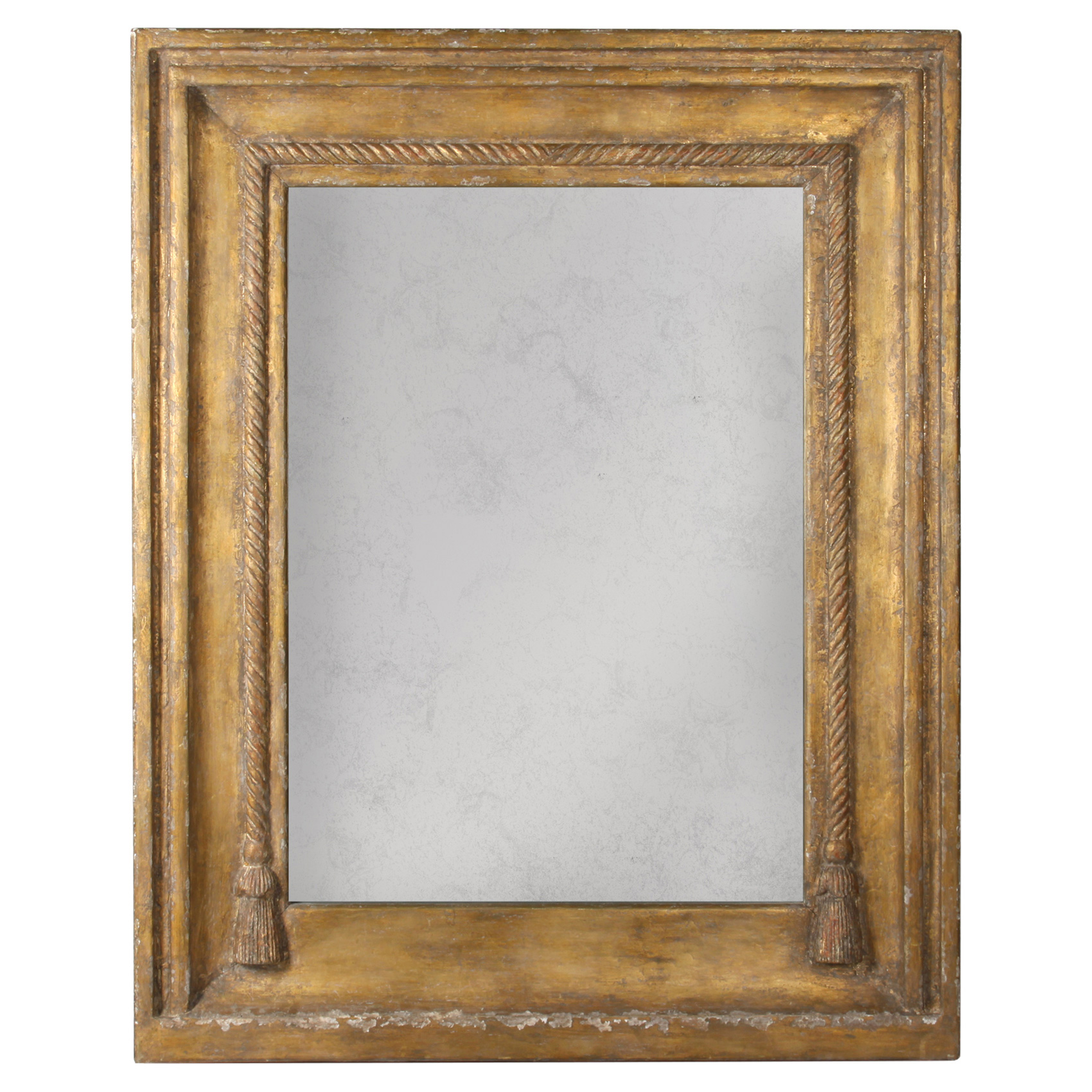 Lou French Country Rustic Brown Gold Frame Antiqued Wall Mirror