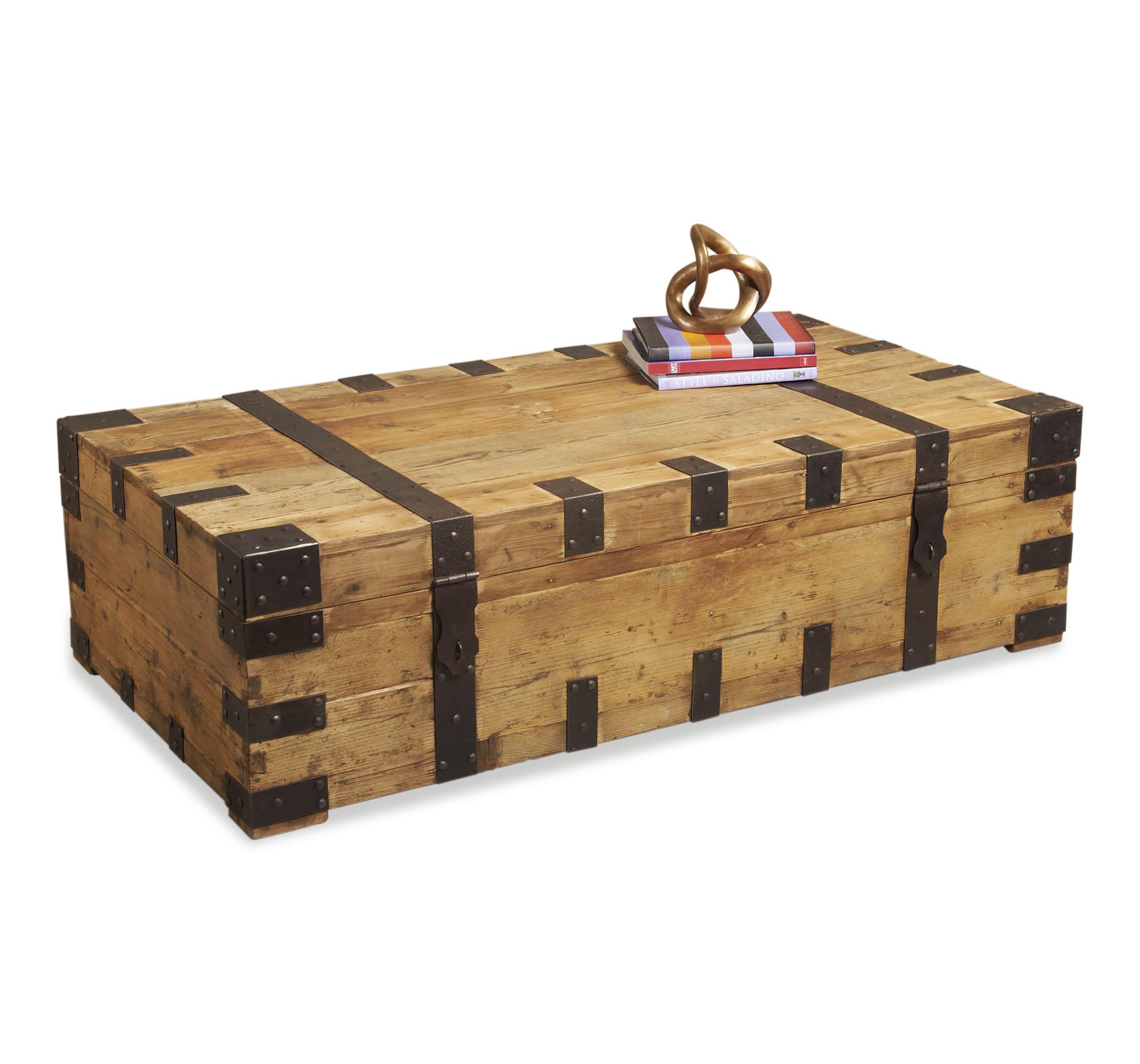 gaston large rustic wood iron coffee table trunk