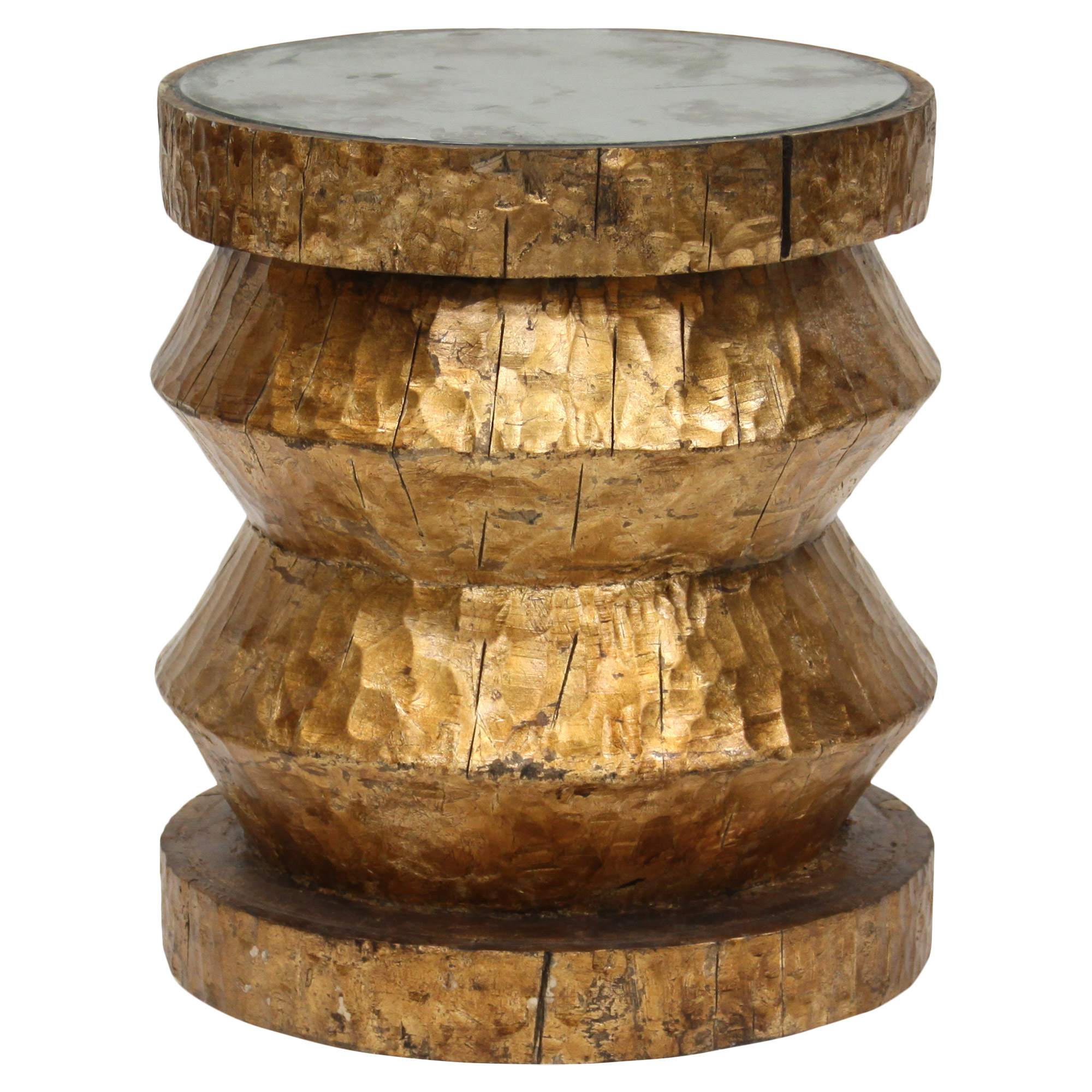 Bimini Global Bazaar Rustic Gold Stool End Table