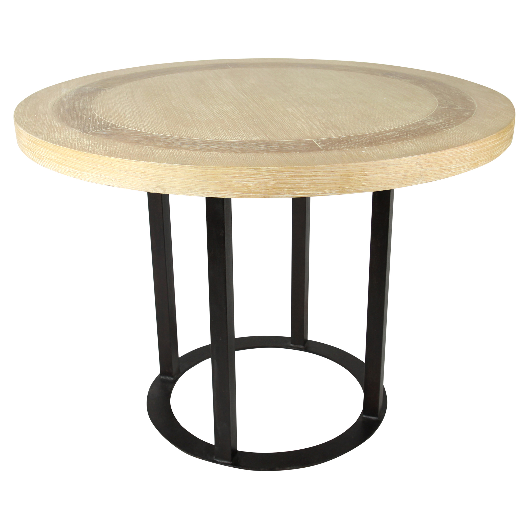 Glynn Industrial Loft Round Wood Ring Dining Table - 42D