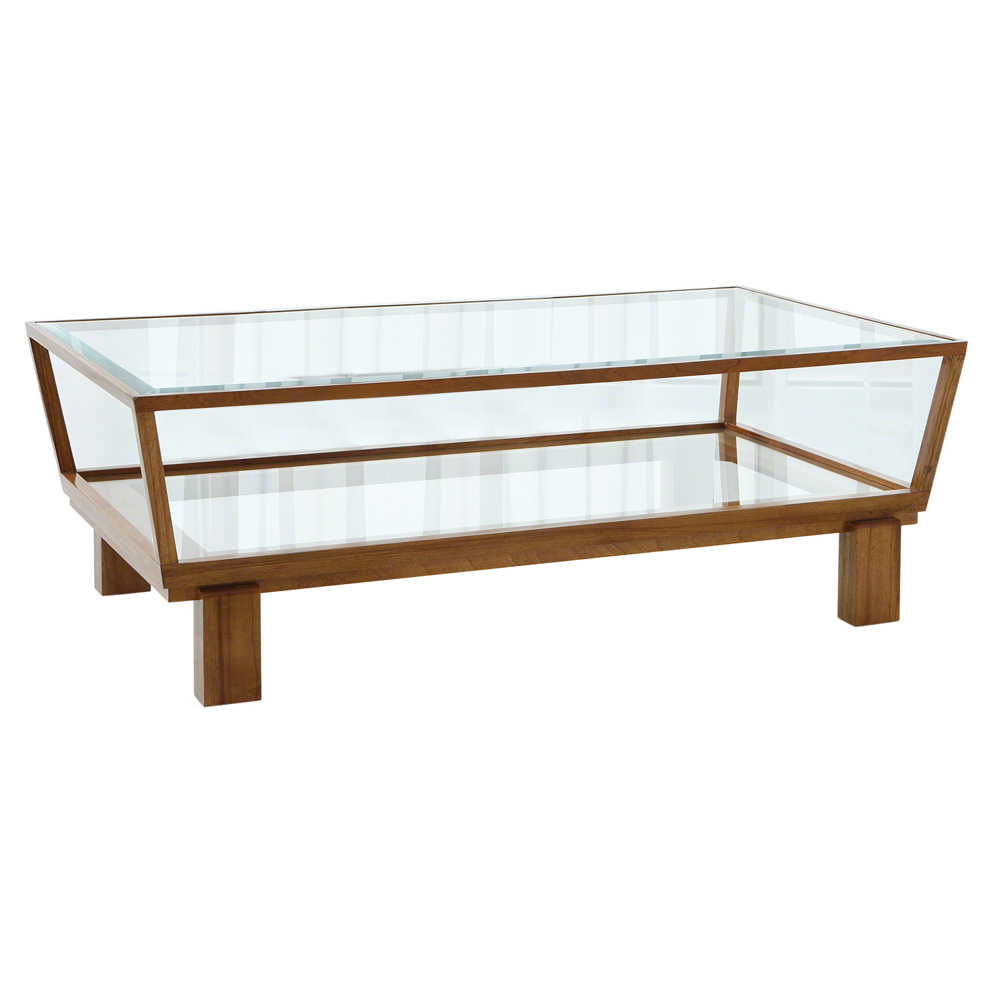 Wendell Modern Brown Wood Glass 2-Tier Coffee Table
