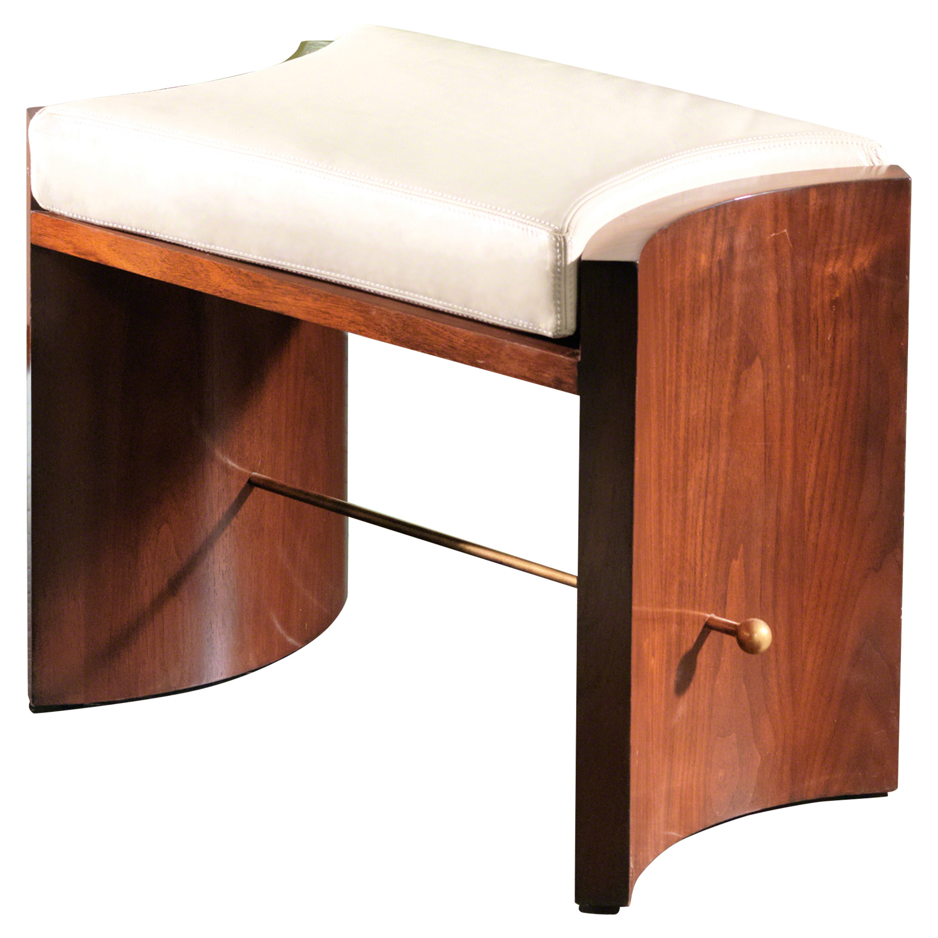 Christy Modern Beige Leather Brown Walnut Stool