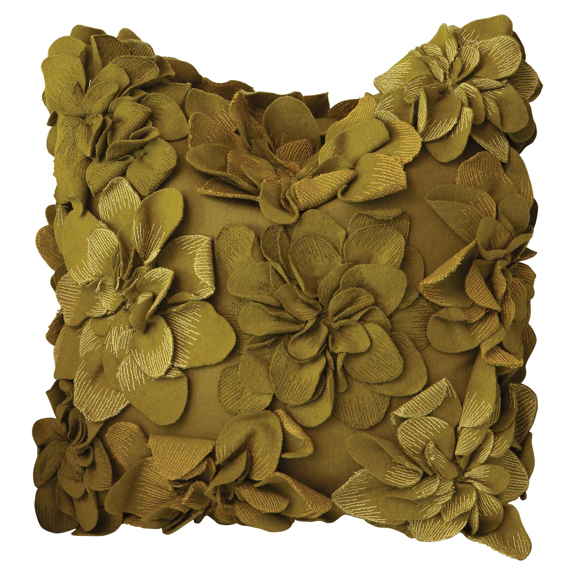 Olive Green Floral Applique Pillow - 20x20