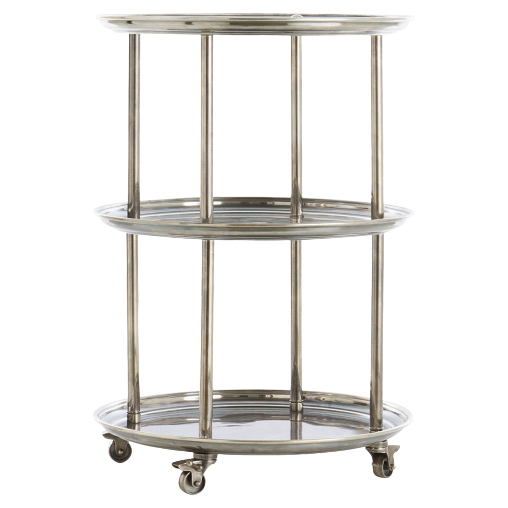 Quint Classic Vintage Silver Round Bar Cart